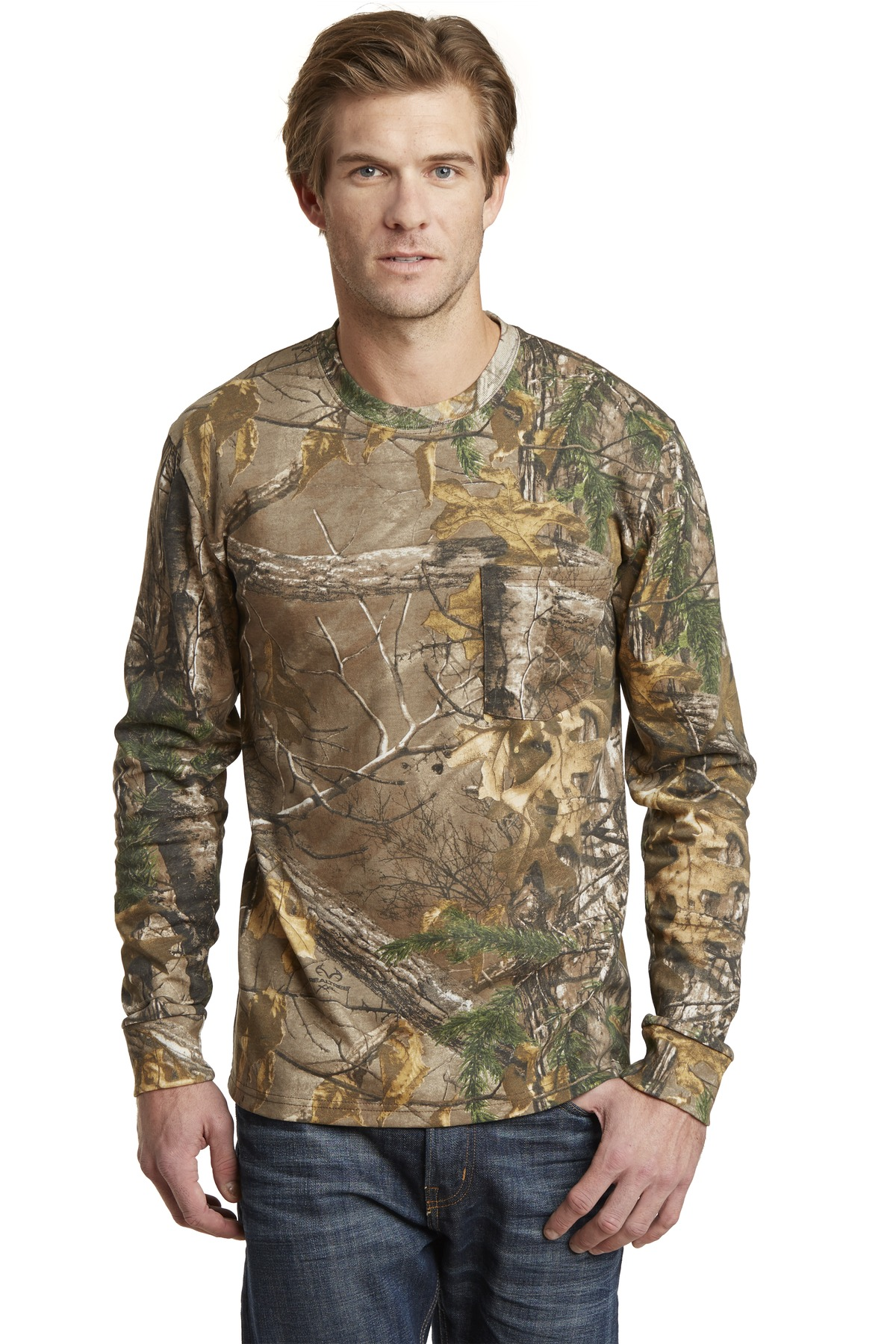 Russell Outdoors ™  Realtree ®  Long Sleeve Explorer 100% Cotton T-Shirt with Pocket. S020R - Realtree Xtra