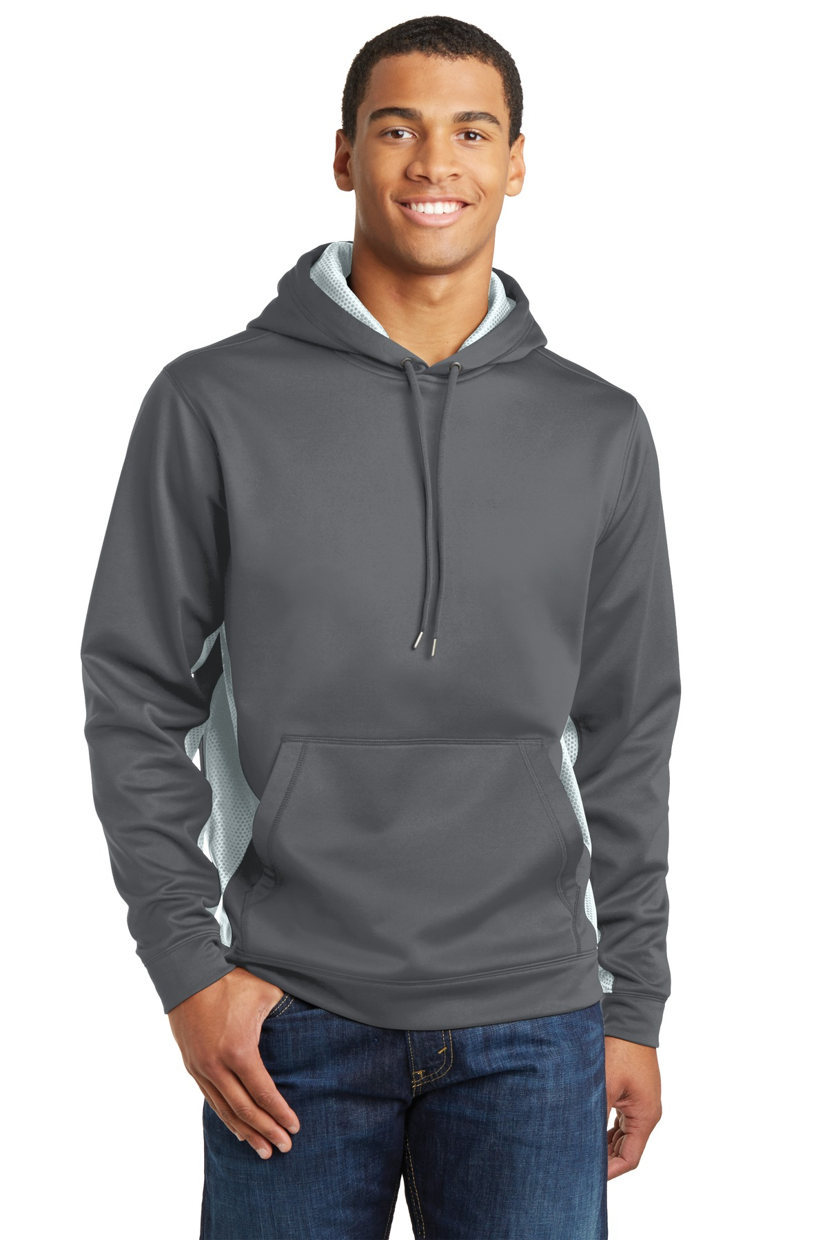 Sport-Tek ®  Sport-Wick ®  CamoHex Fleece Colorblock Hooded Pullover. ST239 - Dark Smoke Grey/ White