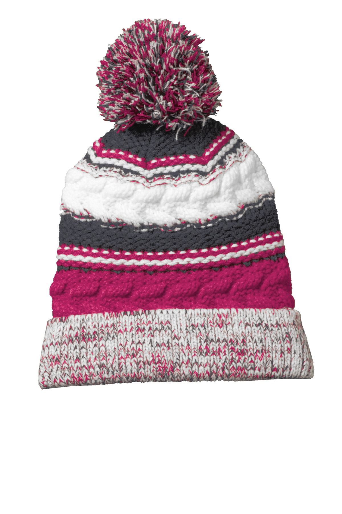 Sport-Tek ®  Pom Pom Team Beanie. STC21 - Pink Raspberry/Iron Grey/White