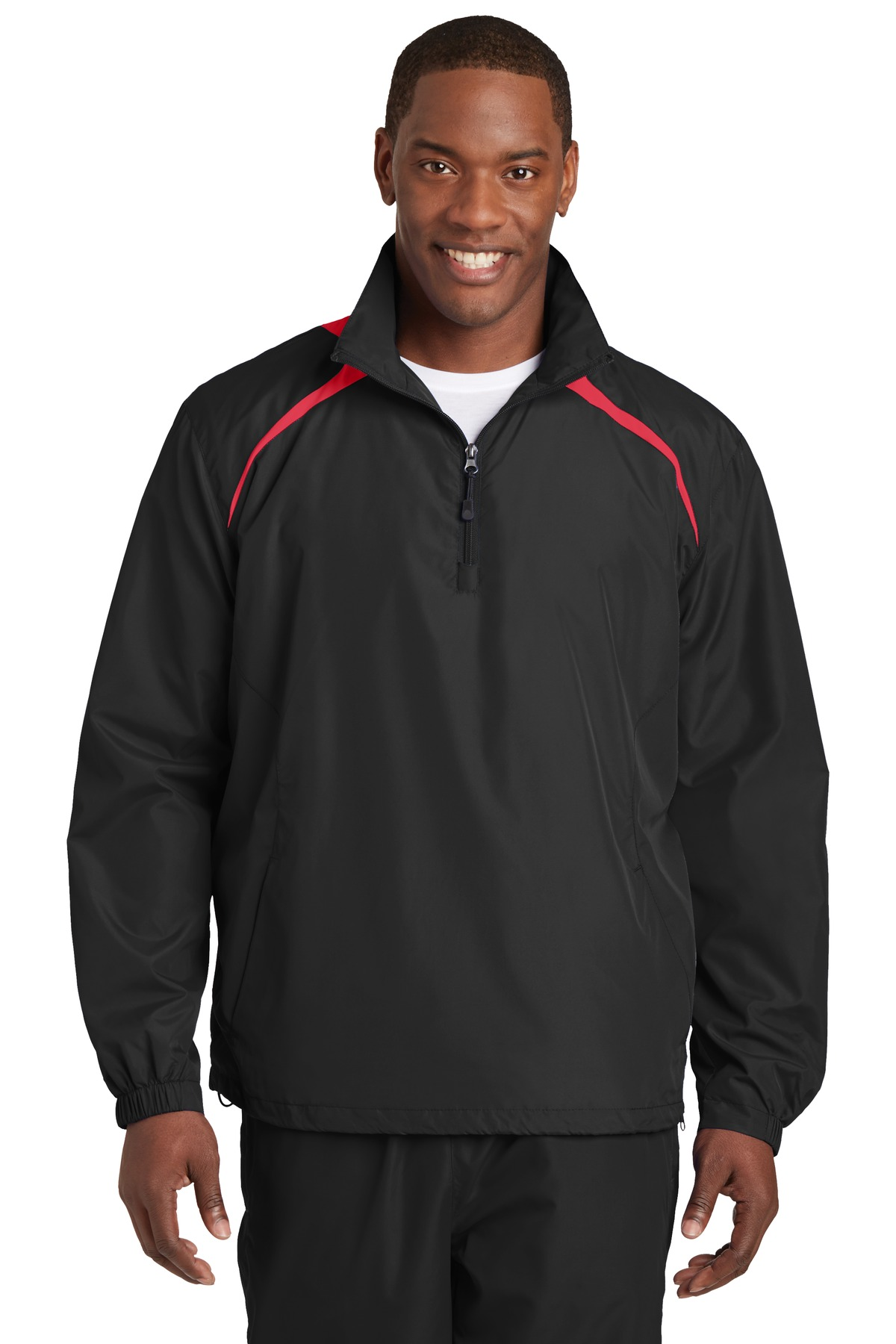 Sport-Tek ®  1/2-Zip Wind Shirt. JST75 - Black/True Red