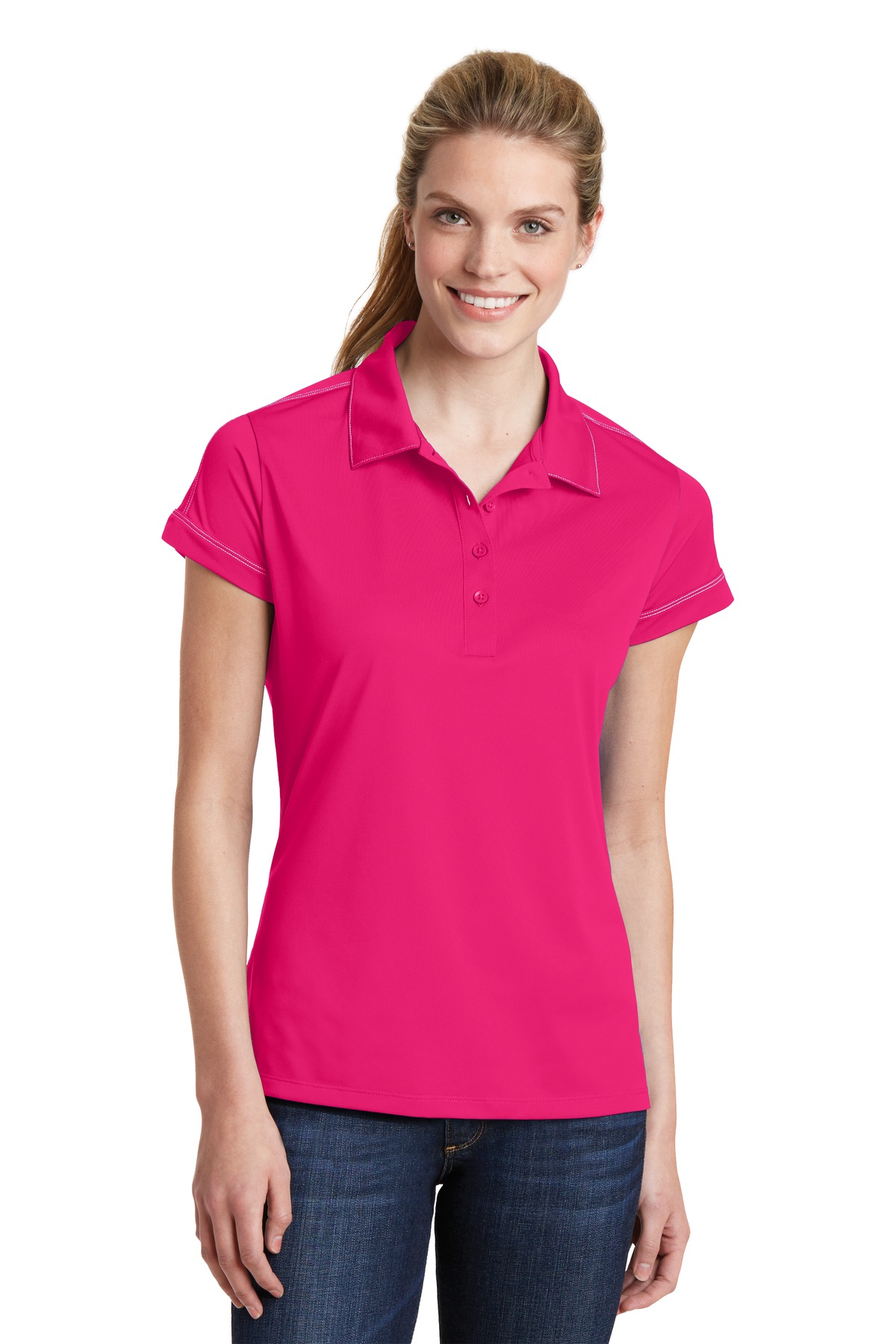 Sport-Tek ®  Ladies Contrast Stitch Micropique Sport-Wick® Polo. LST659 - Pink Raspberry