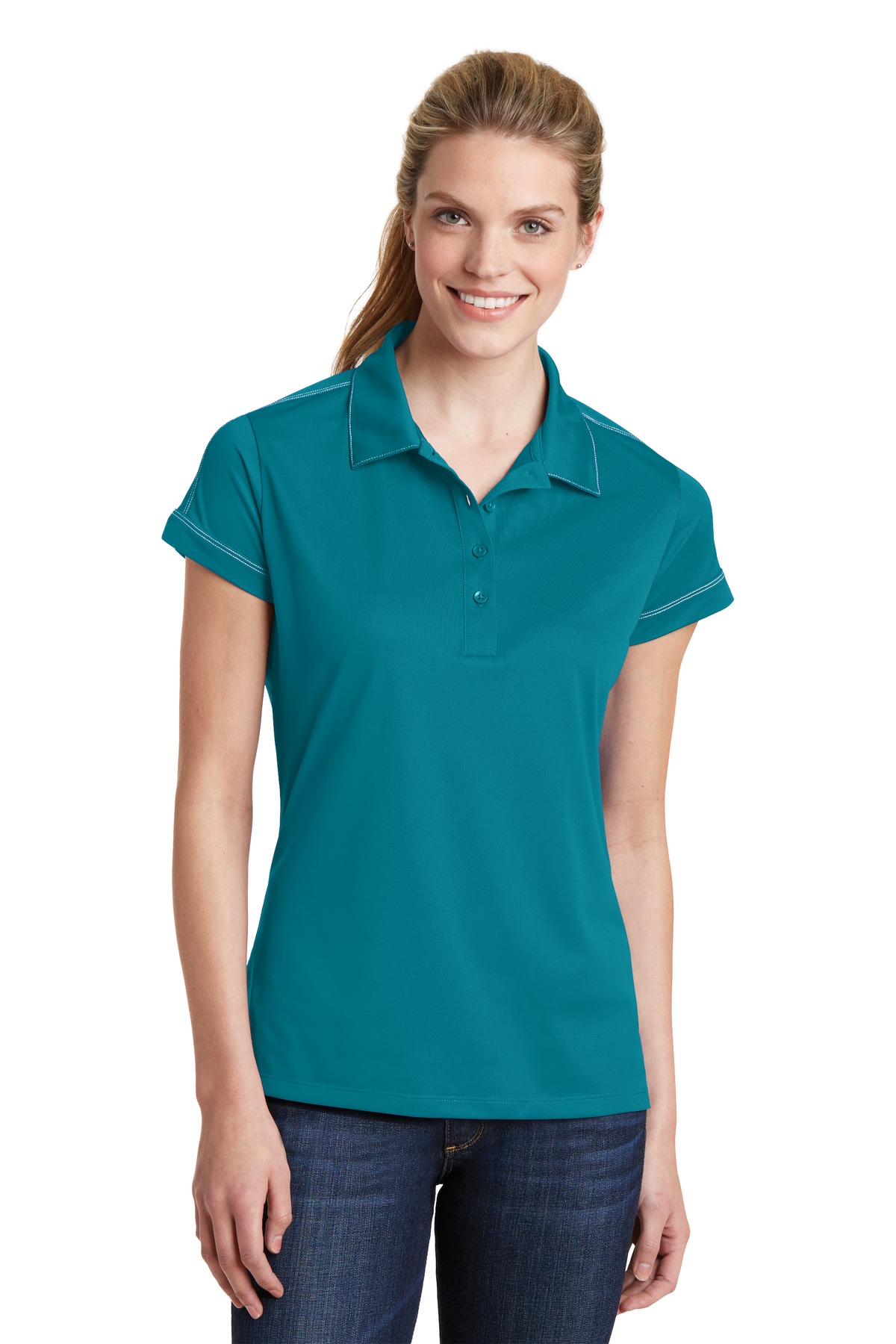 Sport-Tek ®  Ladies Contrast Stitch Micropique Sport-Wick® Polo. LST659 - Tropic Blue