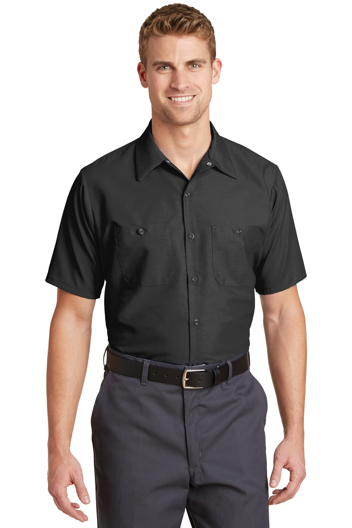 Red Kap ®  Long Size, Short Sleeve Industrial Work Shirt. SP24LONG - Charcoal