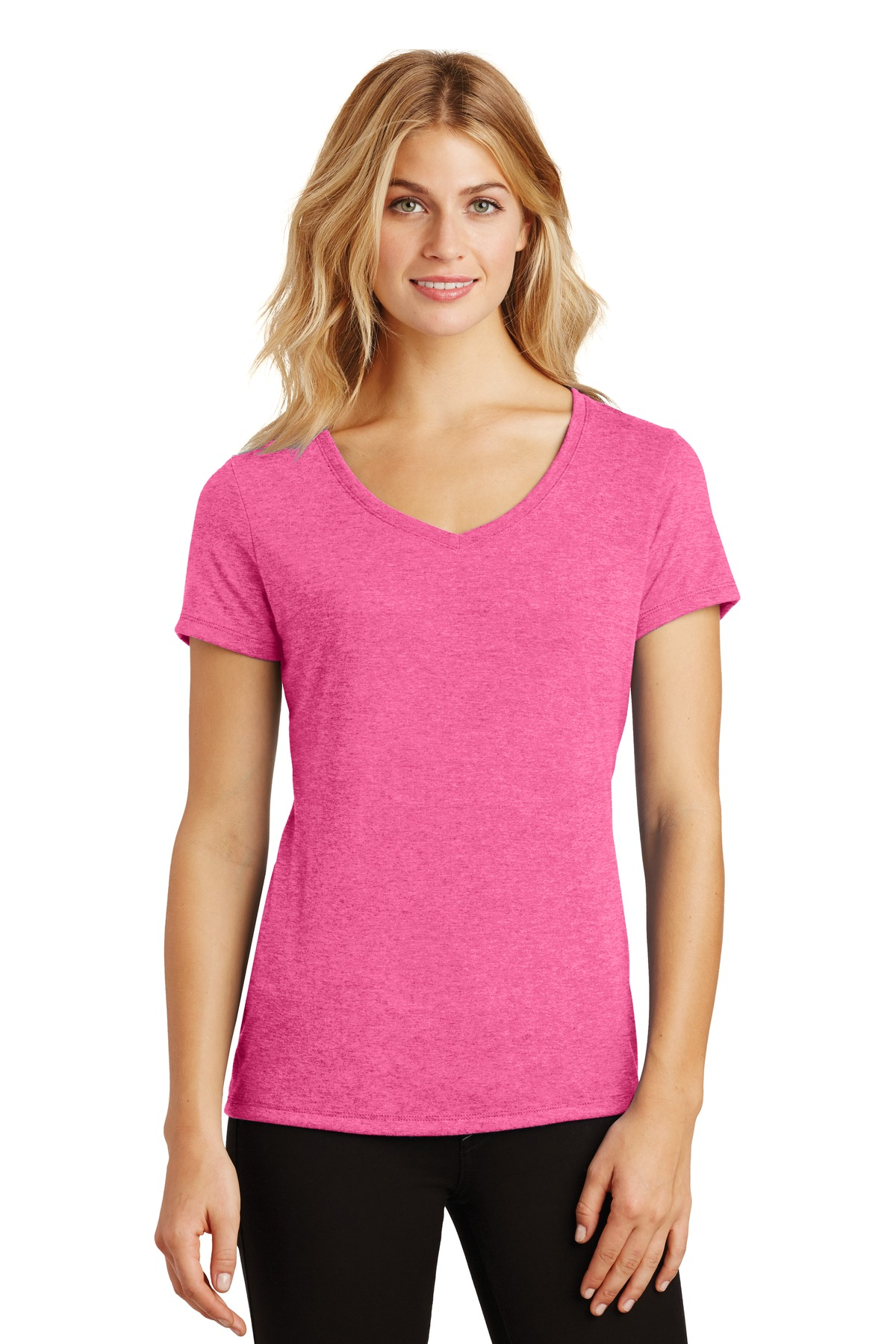 District ®  Women's Perfect Tri ®  V-Neck Tee. DM1350L - Fuchsia Frost