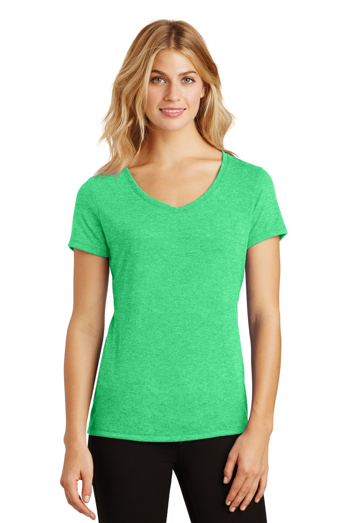 District ®  Women's Perfect Tri ®  V-Neck Tee. DM1350L - Green Frost