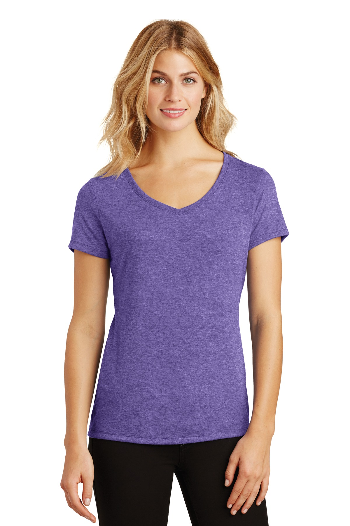 District ®  Women's Perfect Tri ®  V-Neck Tee. DM1350L - Purple Frost