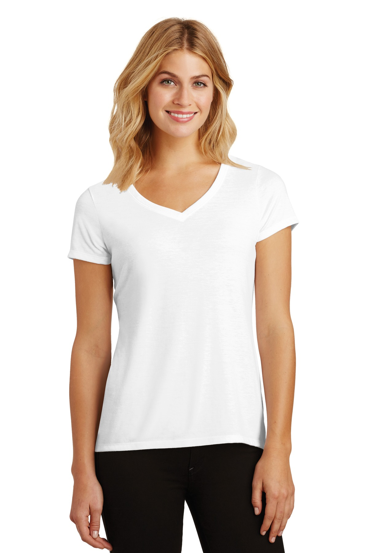 District ®  Women's Perfect Tri ®  V-Neck Tee. DM1350L - White