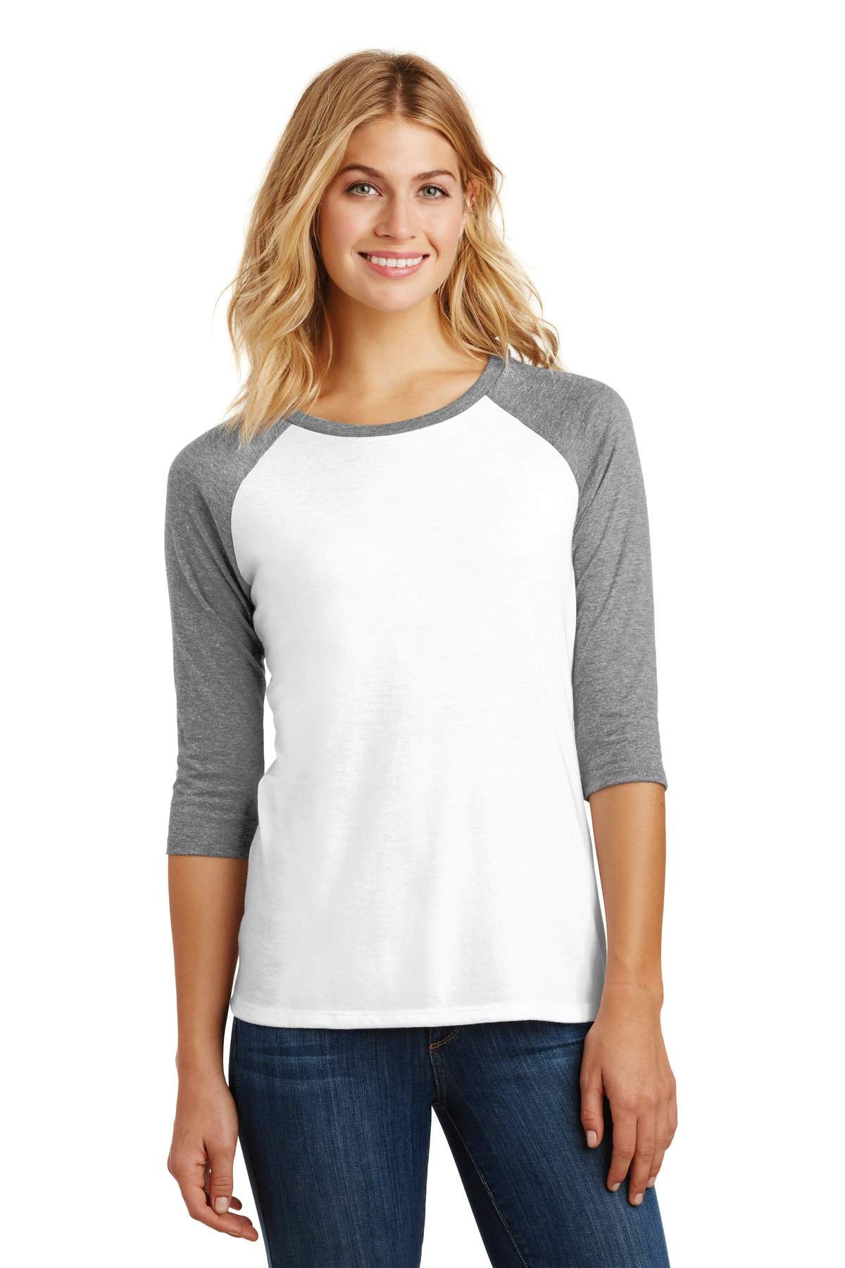 District ®  Women's Perfect Tri ®  3/4-Sleeve Raglan. DM136L - Grey Frost/ White