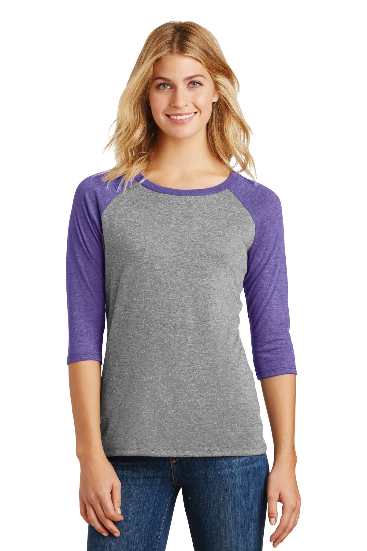 District ®  Women's Perfect Tri ®  3/4-Sleeve Raglan. DM136L - Purple Frost/ Grey Frost