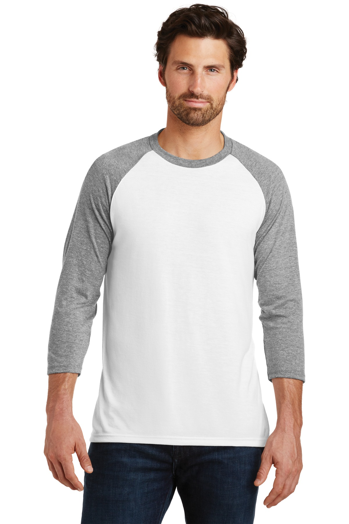 District  ®  Perfect Tri ®  3/4-Sleeve Raglan. DM136 - Grey Frost/ White