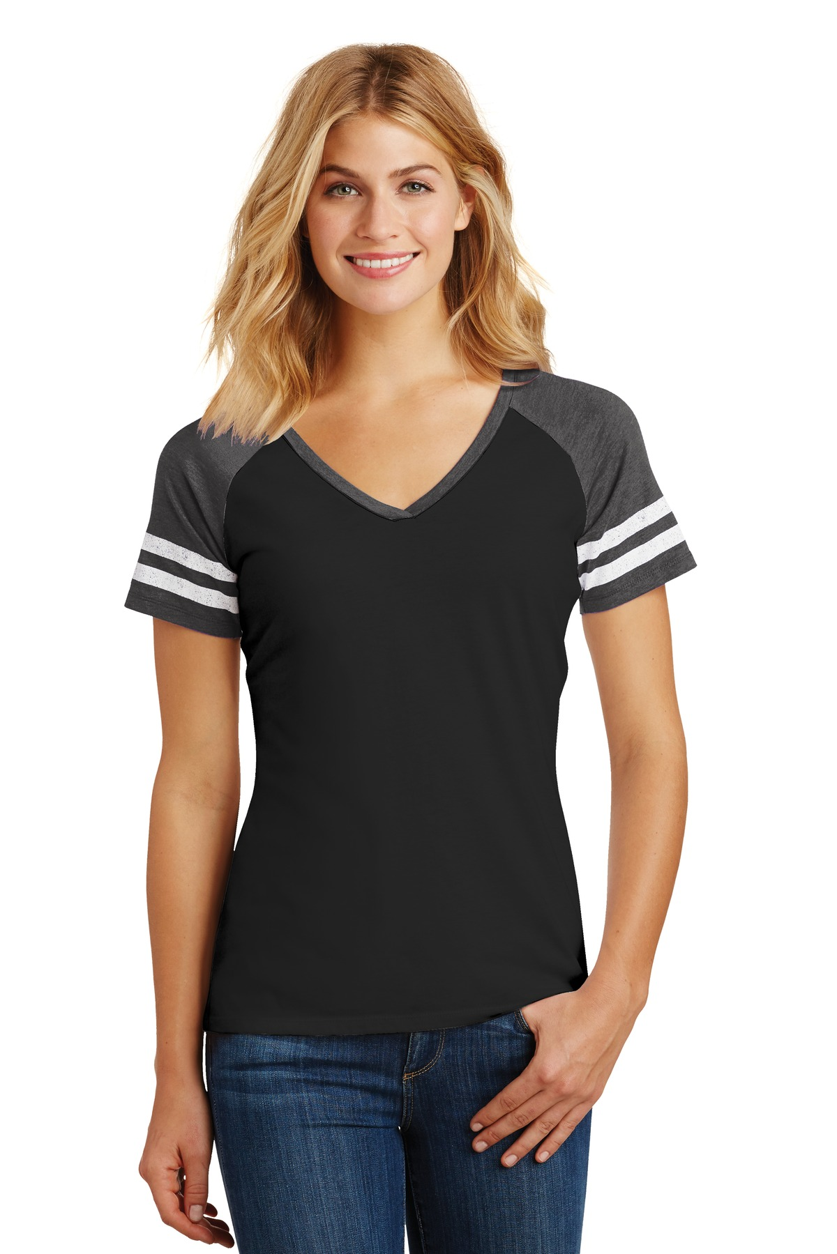 District  ®  Women's Game V-Neck Tee. DM476 - Black/ Heathered Charcoal