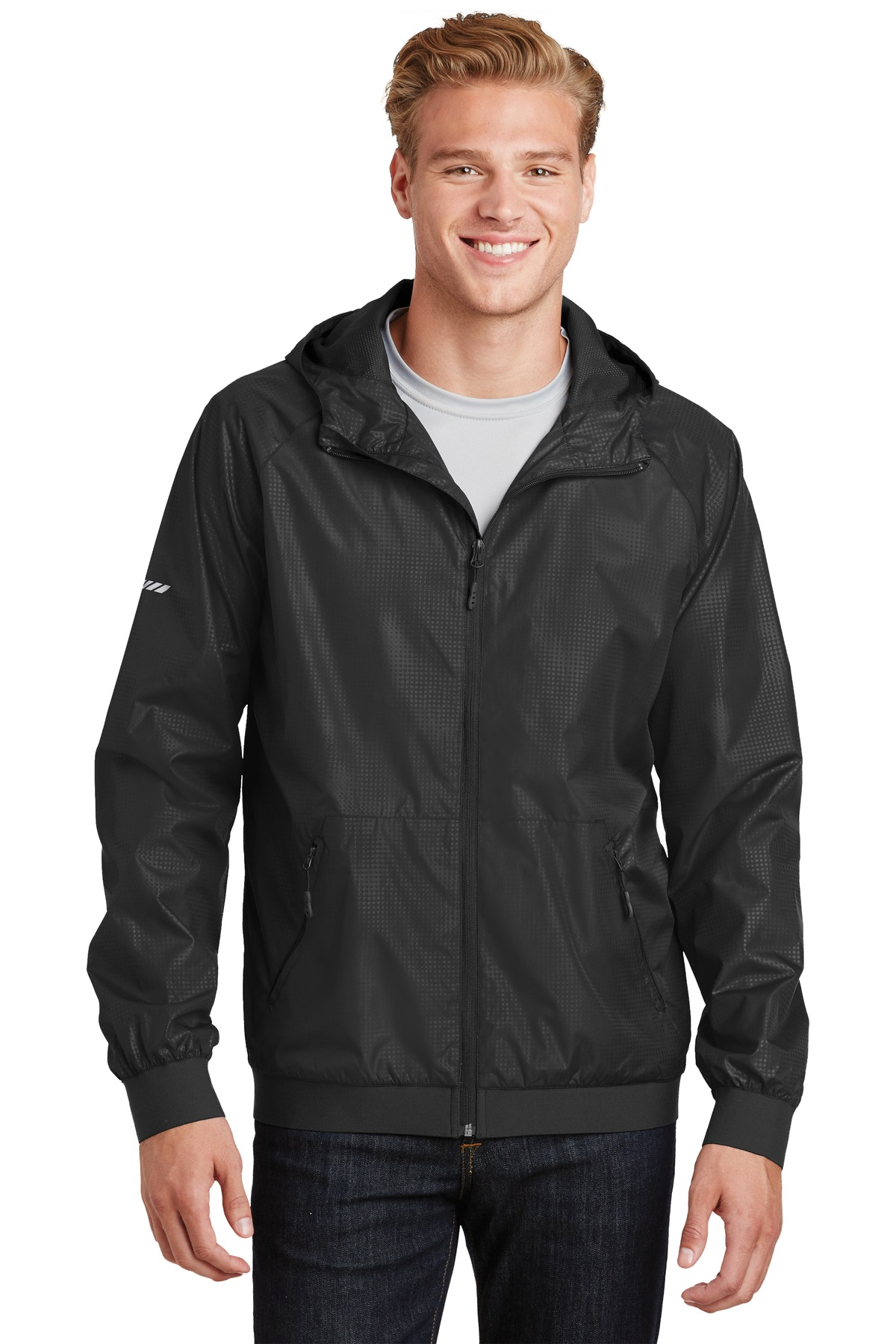 Sport-Tek ®  Embossed Hooded Wind Jacket. JST53 - Black/ Black