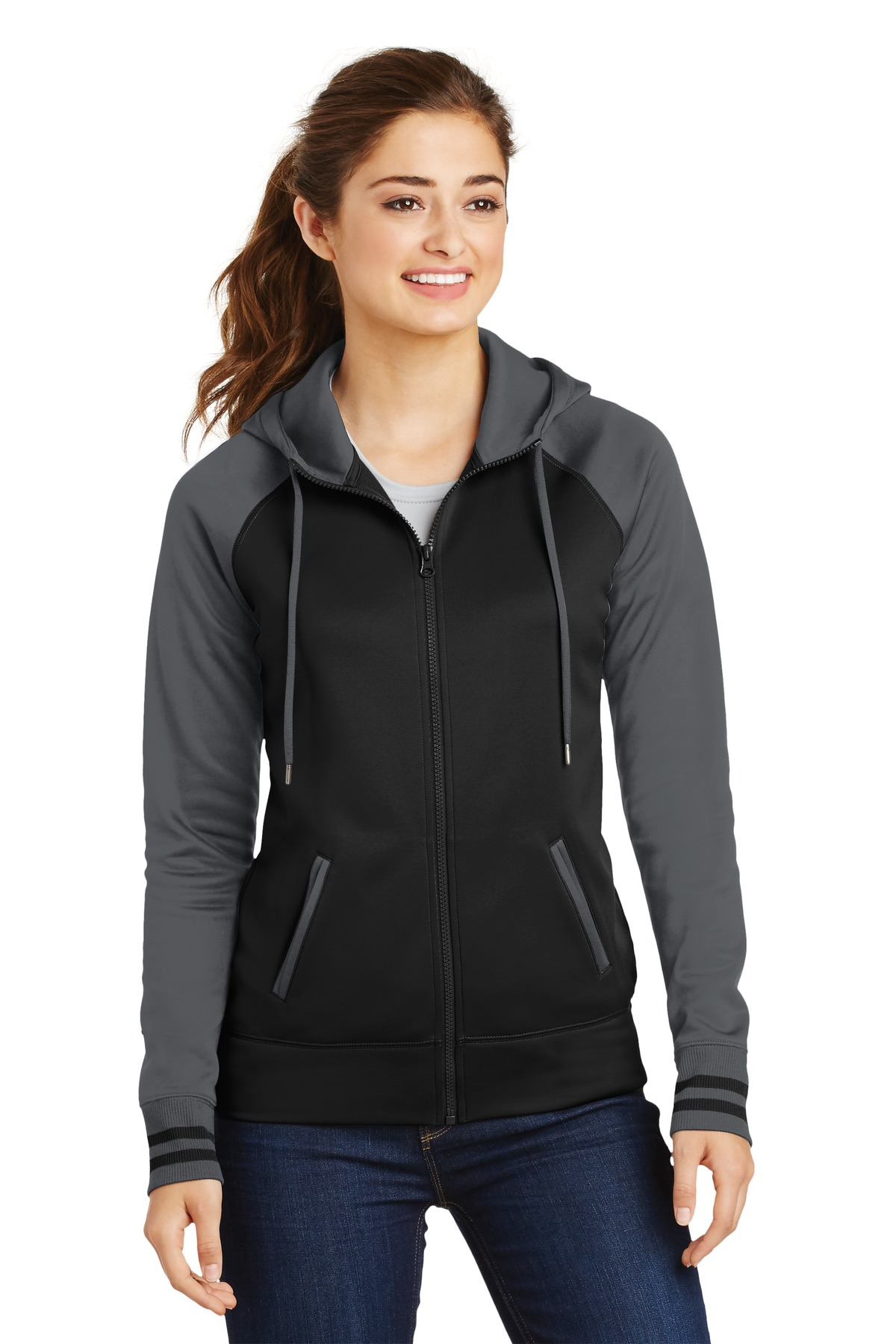 Sport-Tek ®  Ladies Sport-Wick ®  Varsity Fleece Full-Zip Hooded Jacket. LST236 - Black/ Dark Smoke Grey