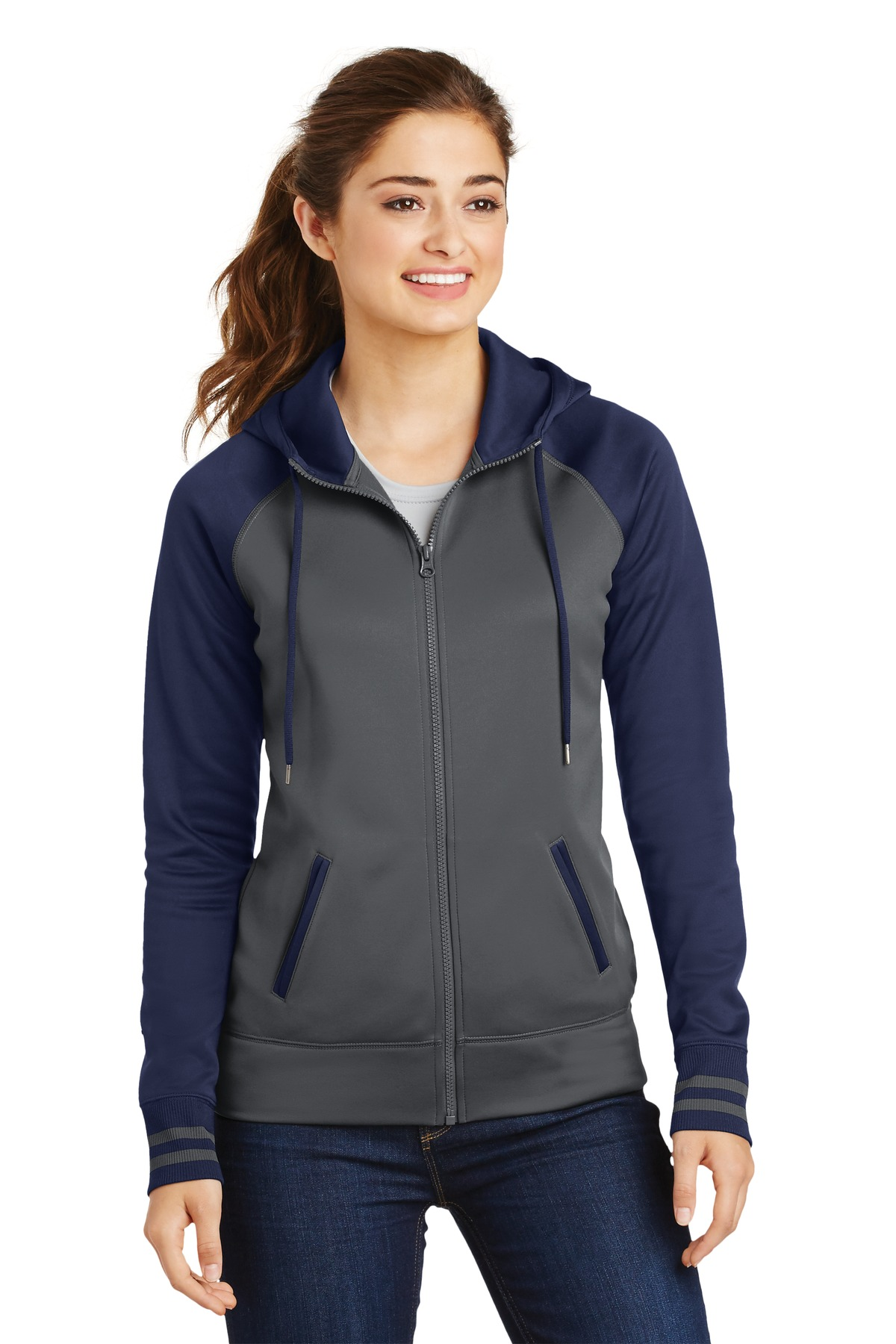 Sport-Tek ®  Ladies Sport-Wick ®  Varsity Fleece Full-Zip Hooded Jacket. LST236 - Dark Smoke Grey/ Navy