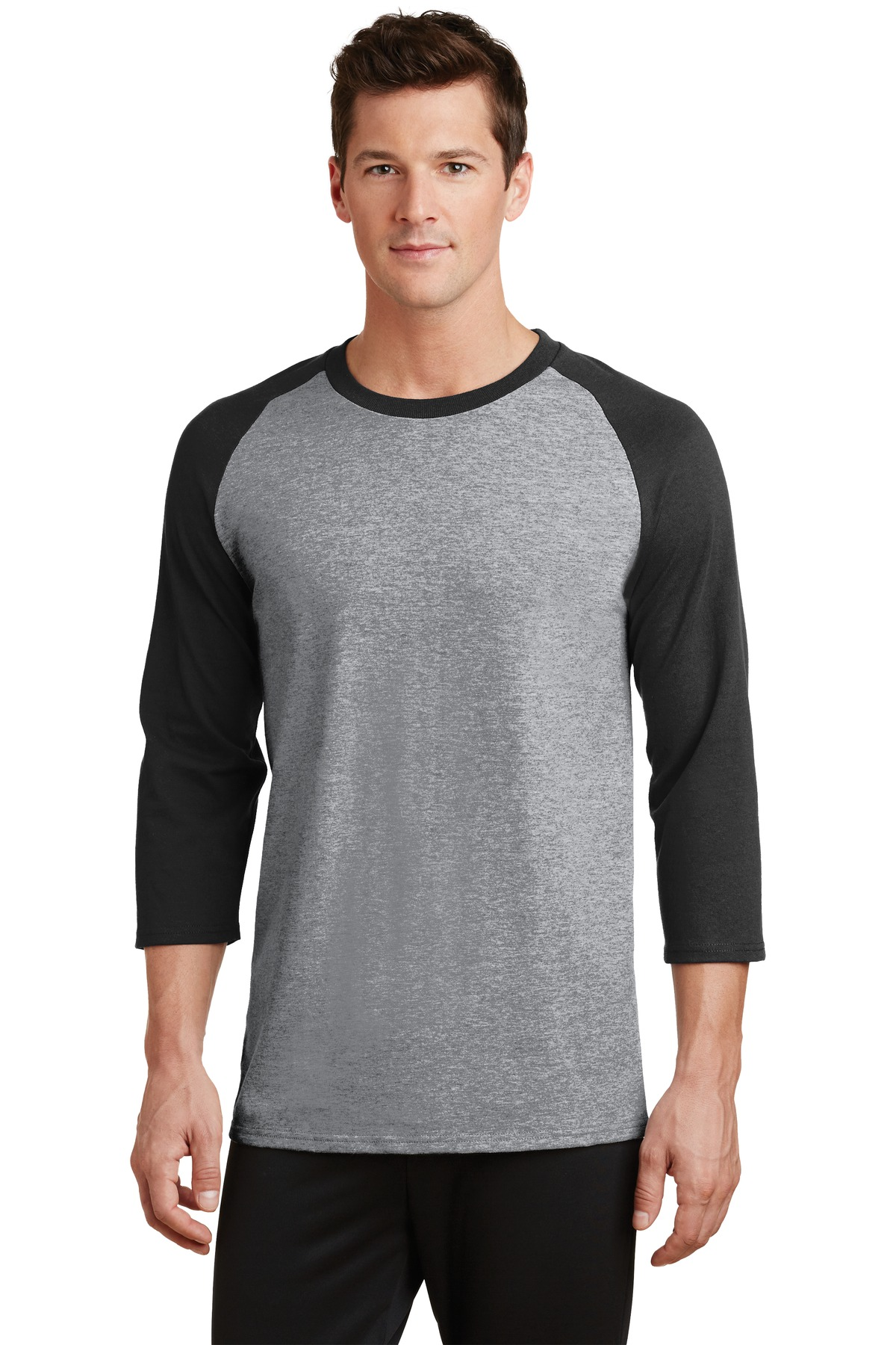 Port & Company ®  Core Blend 3/4-Sleeve Raglan Tee. PC55RS - Athletic Heather/ Jet Black