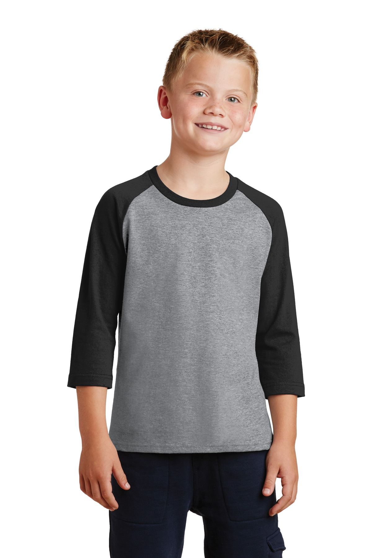 Port & Company ®  Youth Core Blend 3/4-Sleeve Raglan Tee. PC55YRS - Athletic Heather/ Jet Black
