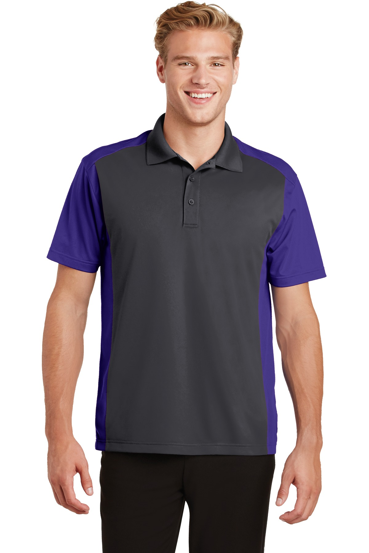 Sport-Tek ®  Colorblock Micropique Sport-Wick ®  Polo. ST652 - Iron Grey/ Purple