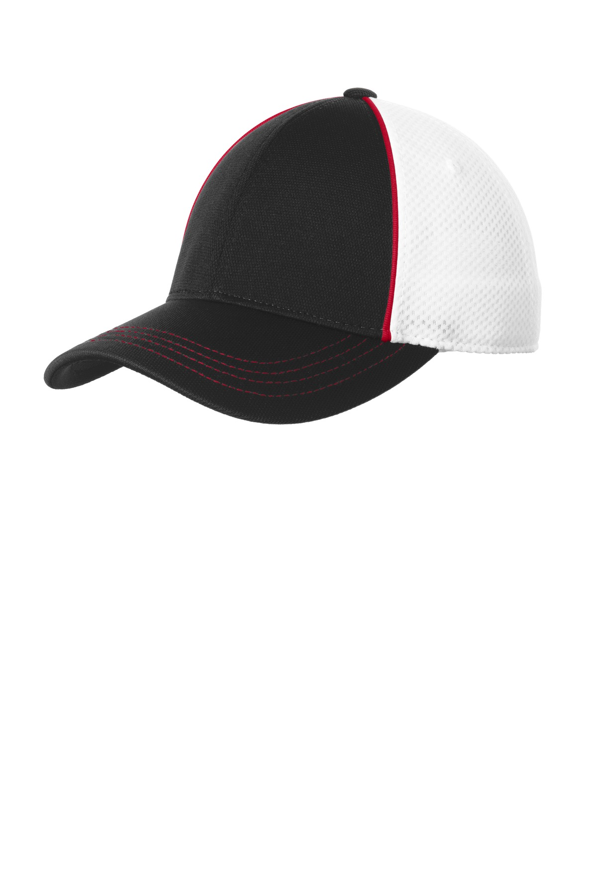 Sport-Tek ®  Piped Mesh Back Cap. STC29 - True Red/ Black/ White