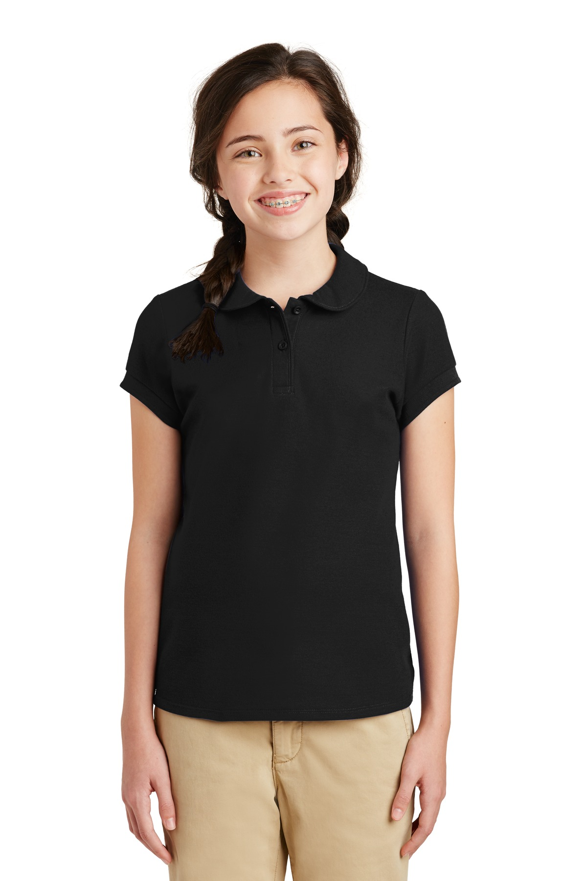Port Authority ®  Girls Silk Touch ™  Peter Pan Collar Polo. YG503 - Black