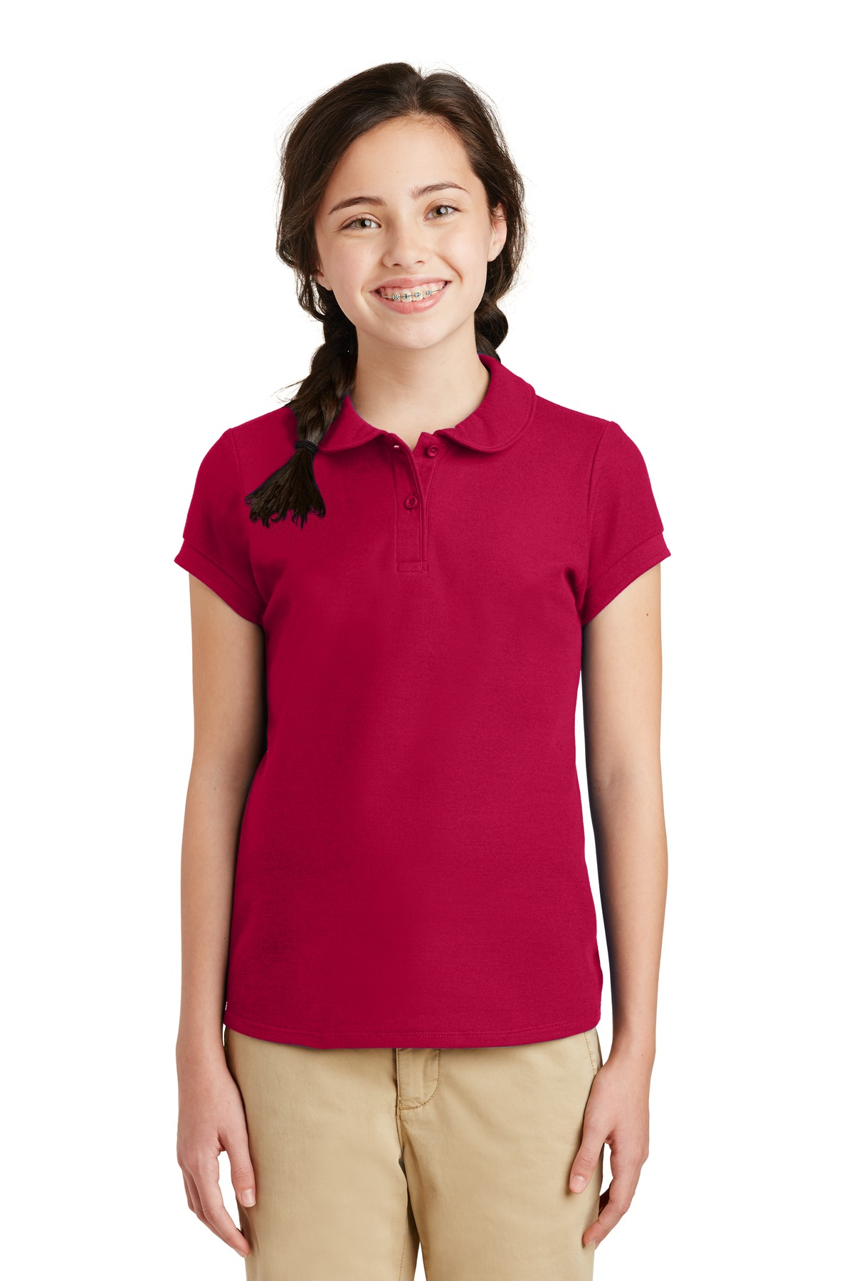 Port Authority ®  Girls Silk Touch ™  Peter Pan Collar Polo. YG503 - Red