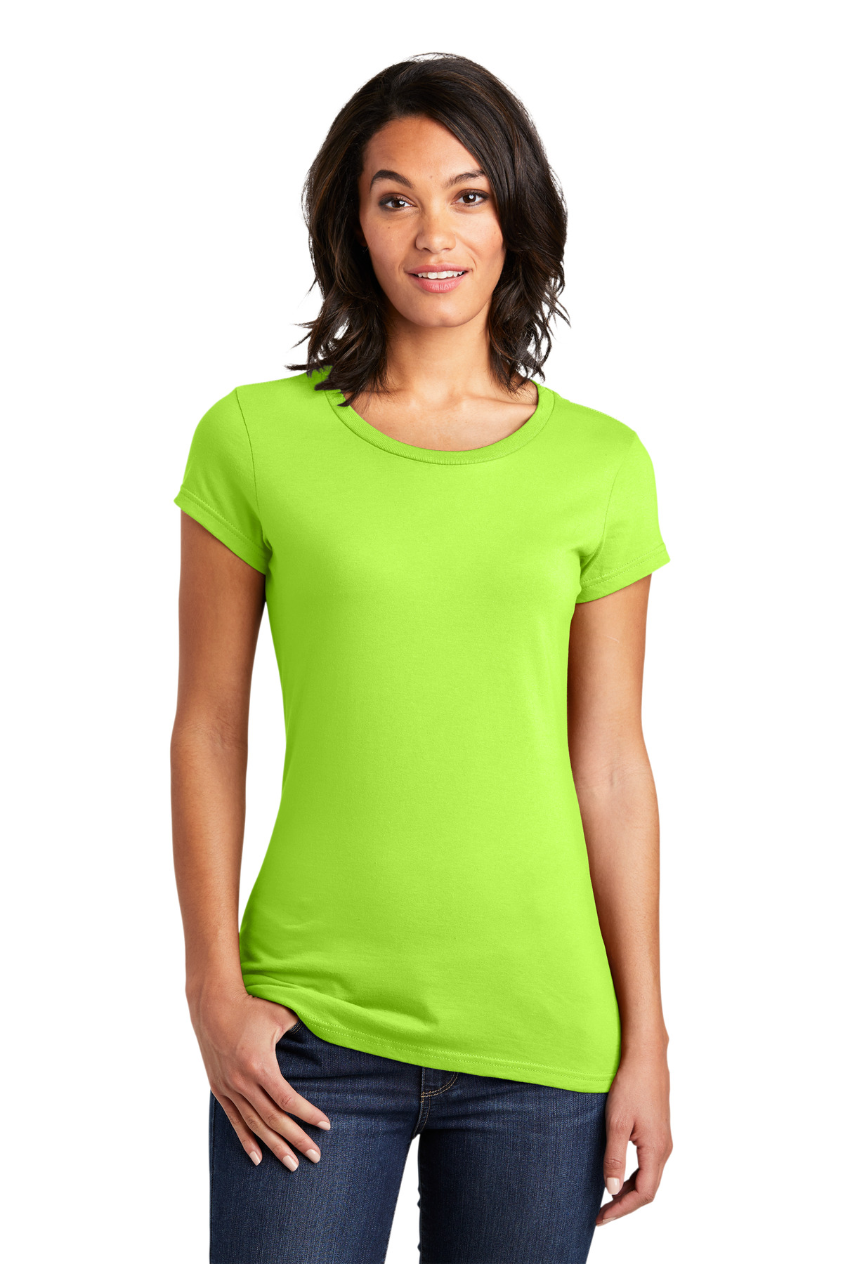 District ®  Women's Fitted Very Important Tee ® . DT6001 - Lime Shock
