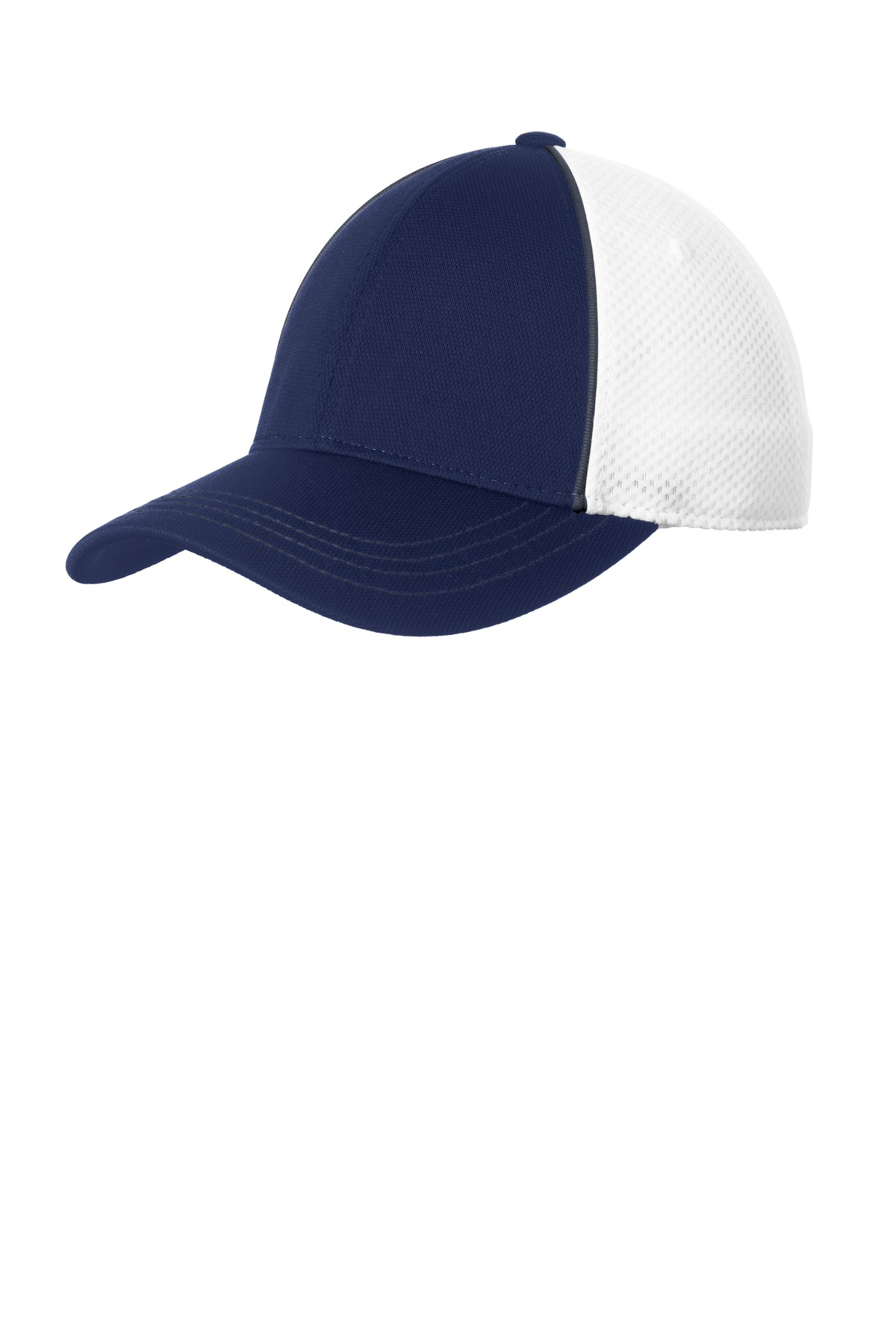 Sport-Tek ®  Piped Mesh Back Cap. STC29 - Graphite/ True Navy/ White