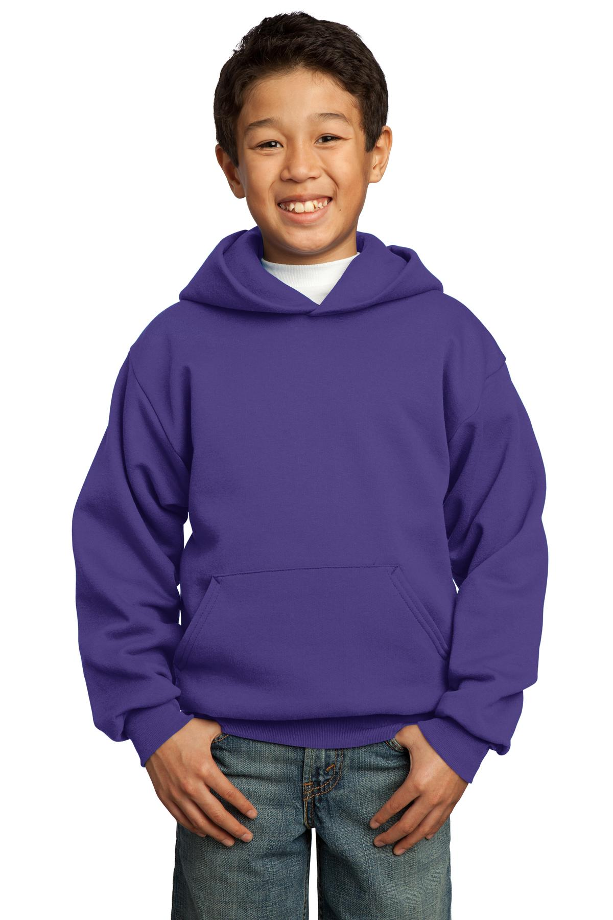 Port & Company ®  - Youth Core Fleece Pullover Hooded Sweatshirt.  PC90YH - Purple