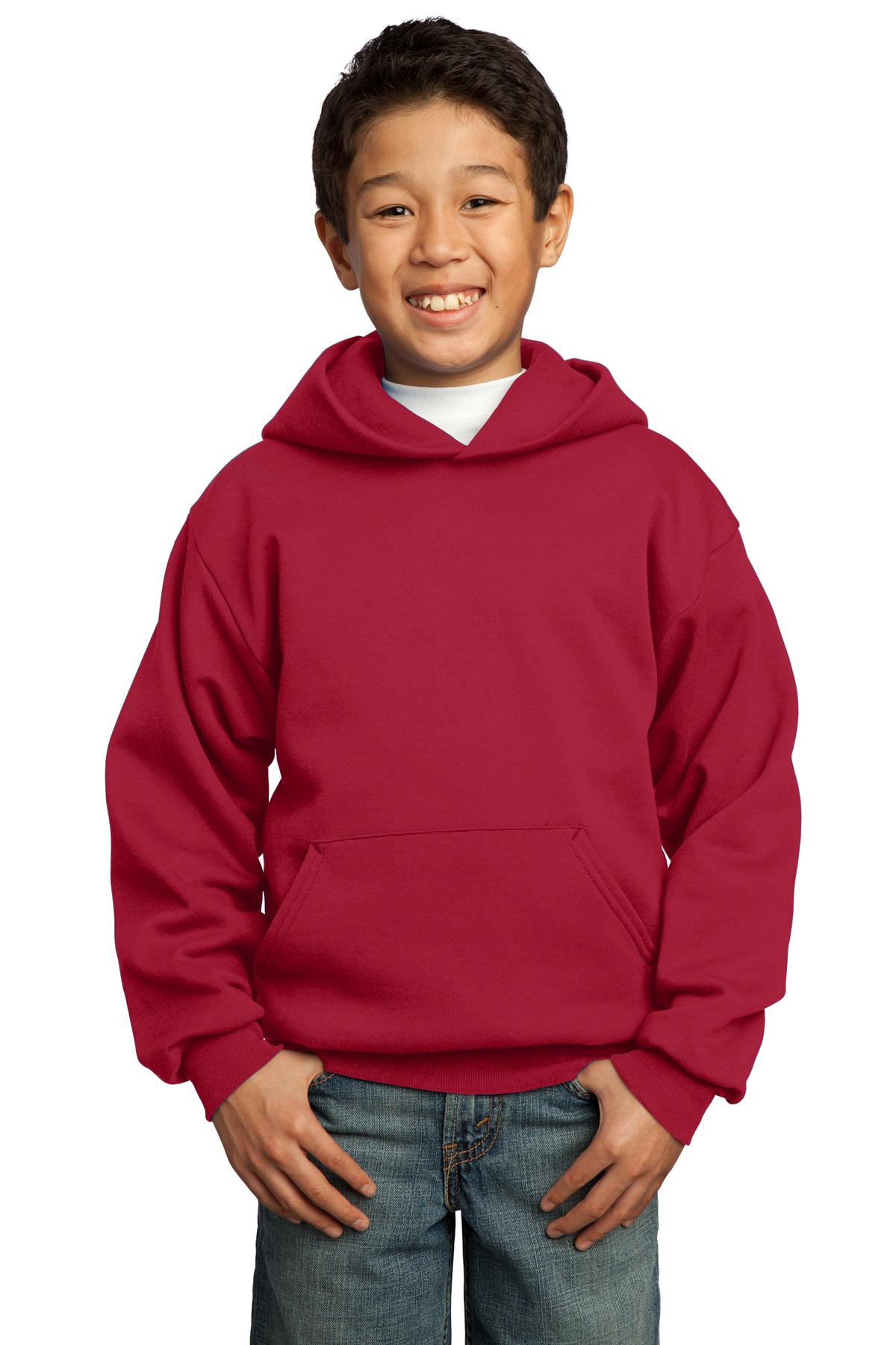 Port & Company ®  - Youth Core Fleece Pullover Hooded Sweatshirt.  PC90YH - Red