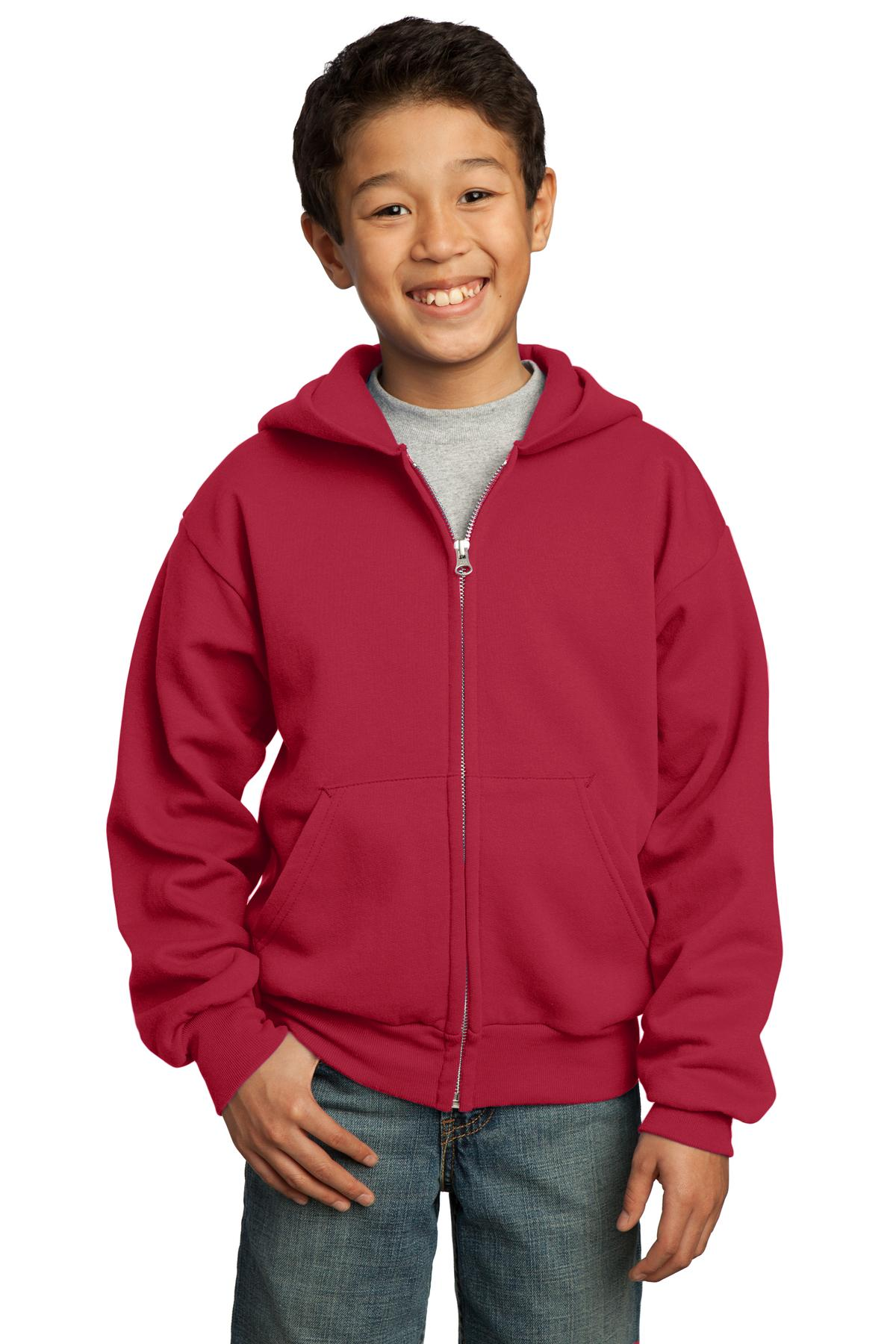 Port & Company ®  - Youth Core Fleece Full-Zip Hooded Sweatshirt.  PC90YZH - Red