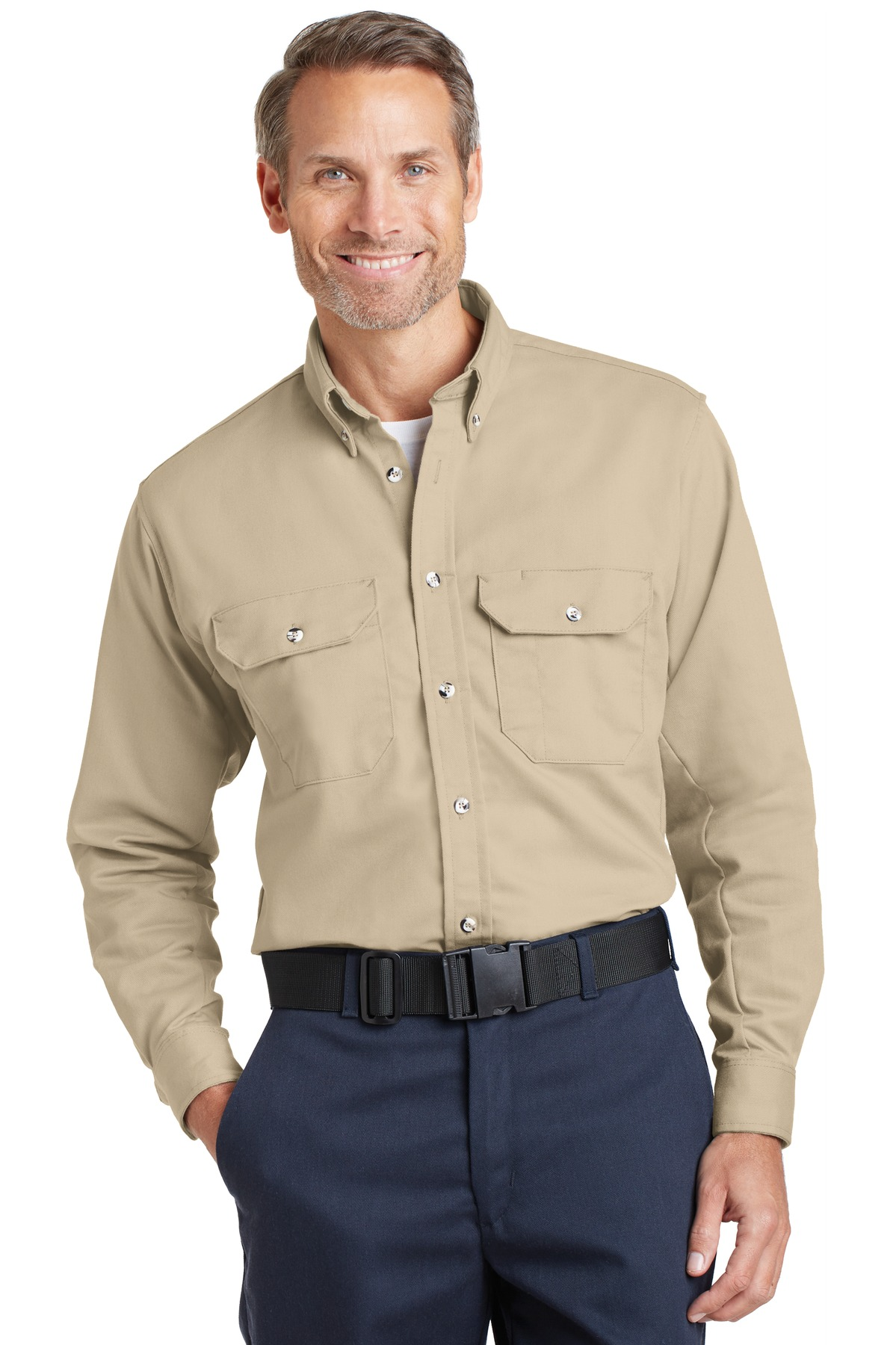 Bulwark ®  EXCEL FR ®  ComforTouch ®  Dress Uniform Shirt. SLU2 - Khaki