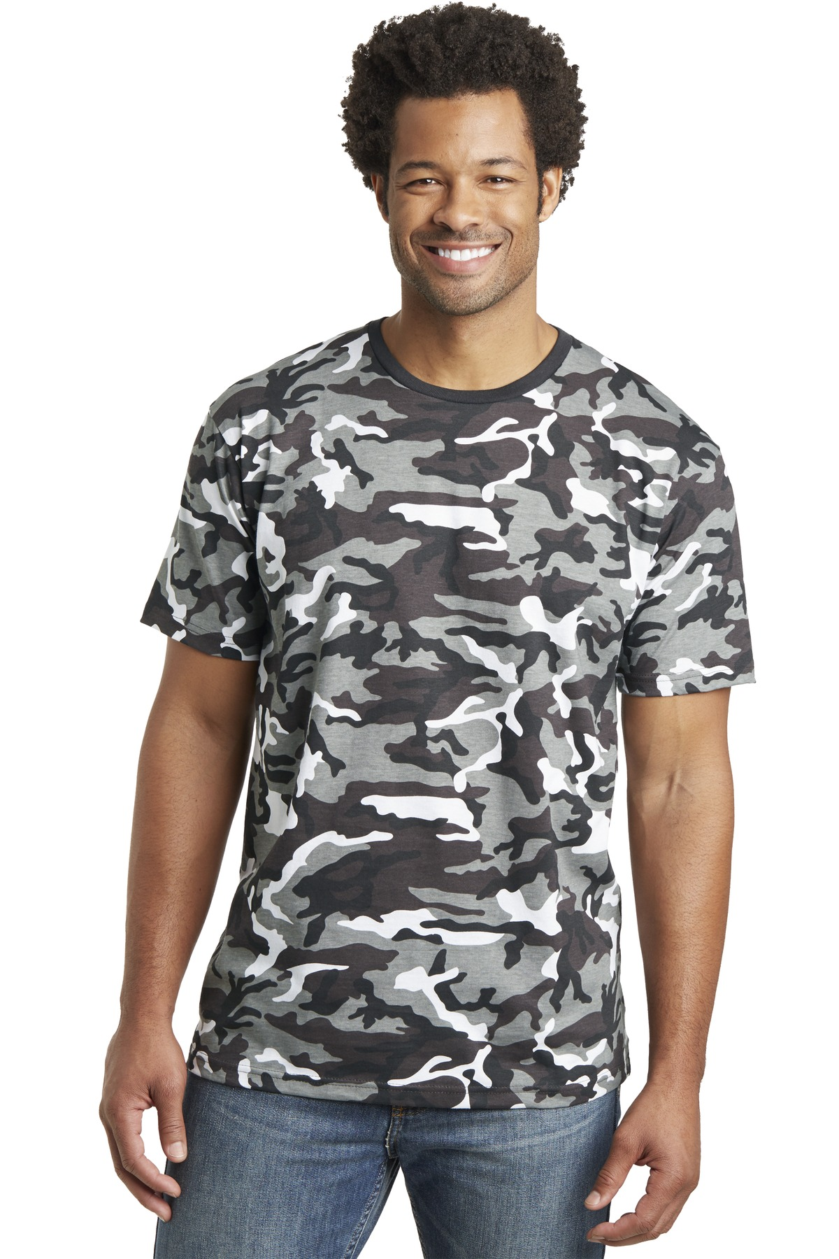 DISCONTINUED District Made Mens Camo Perfect Weight Crew Tee. DT104C