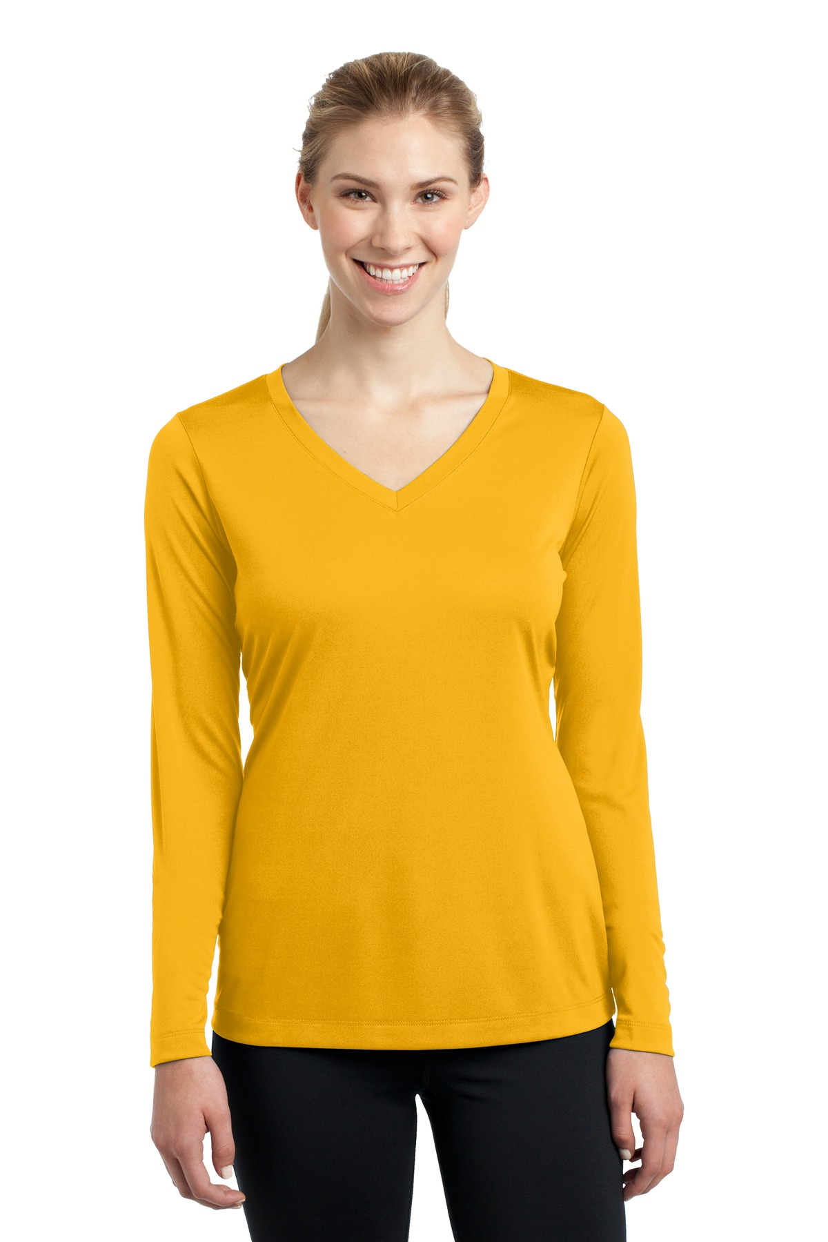 Sport-Tek ®  Ladies Long Sleeve PosiCharge ®  Competitor™ V-Neck Tee. LST353LS - Gold