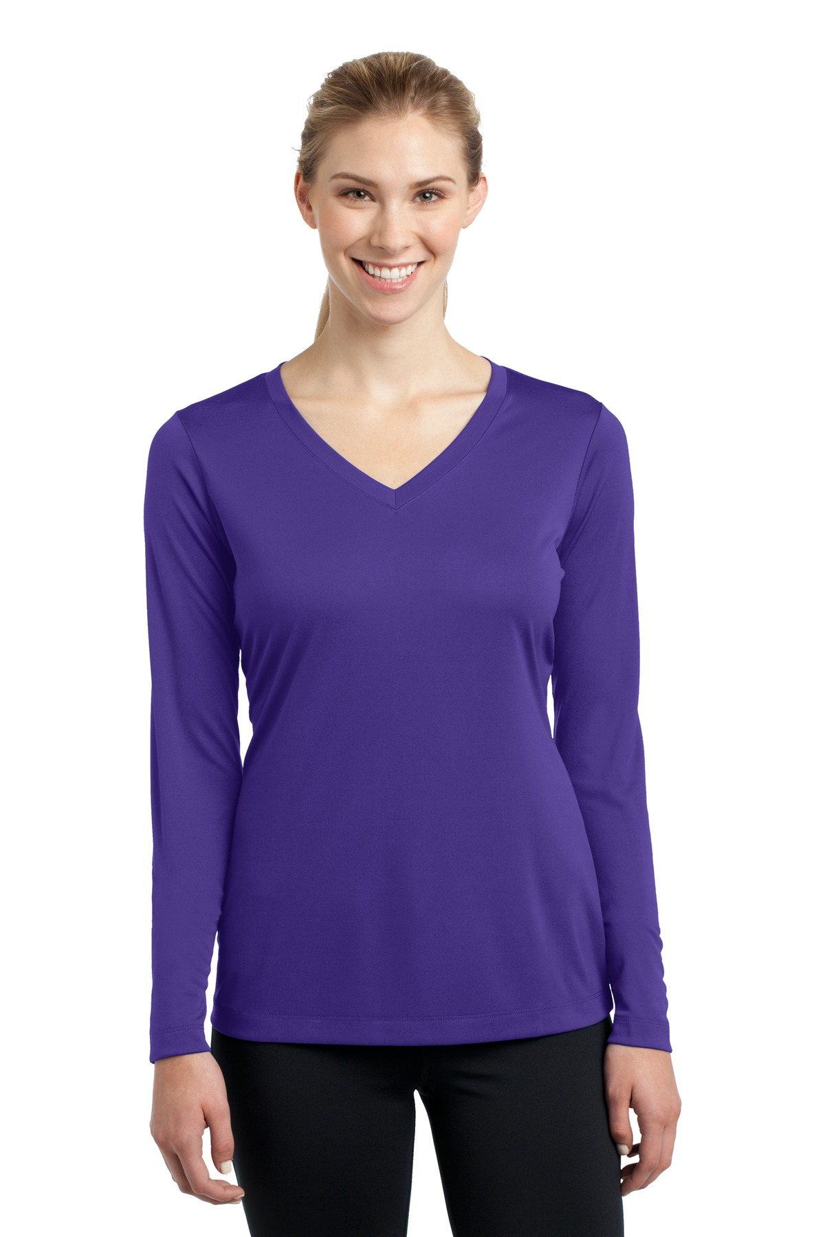 Sport-Tek ®  Ladies Long Sleeve PosiCharge ®  Competitor™ V-Neck Tee. LST353LS - Purple