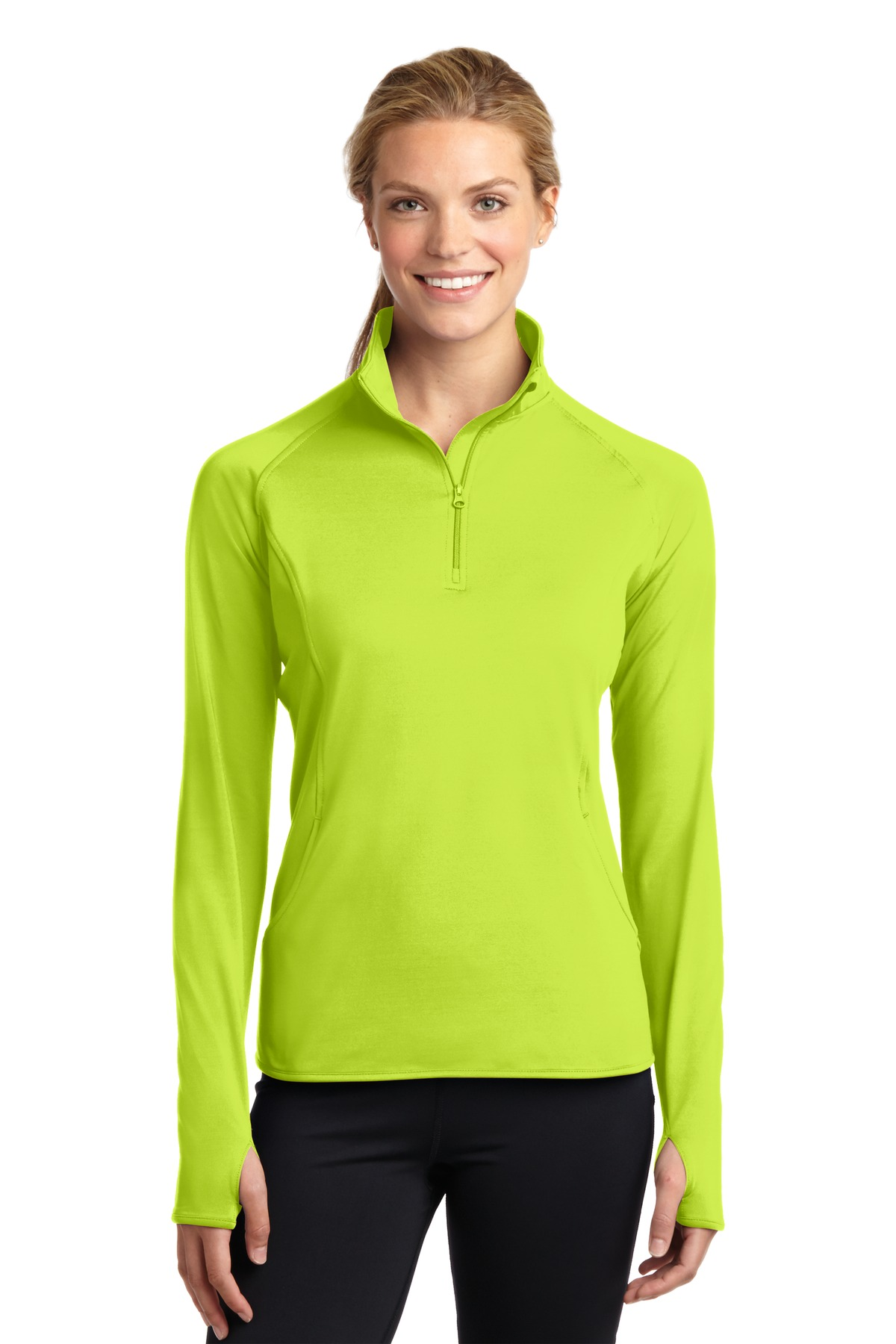 Sport-Tek ®  Ladies Sport-Wick ®  Stretch 1/2-Zip Pullover. LST850 - Charge Green