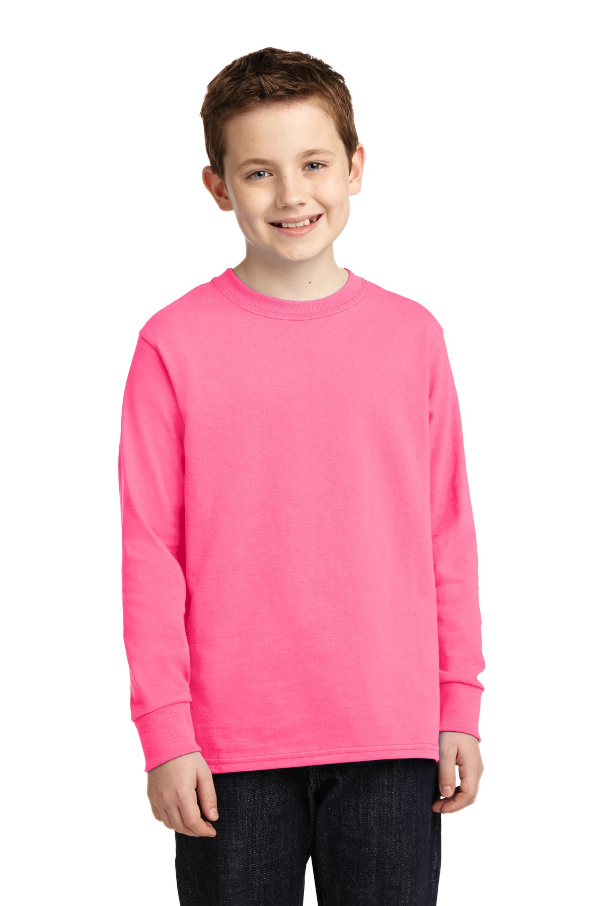 Port & Company ®  Youth Long Sleeve Core Cotton Tee. PC54YLS - Neon Pink