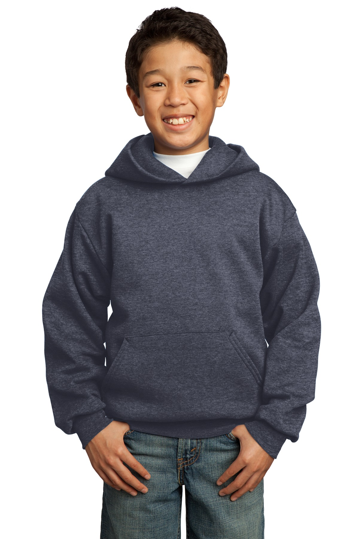 Port & Company ®  - Youth Core Fleece Pullover Hooded Sweatshirt.  PC90YH - Heather Navy