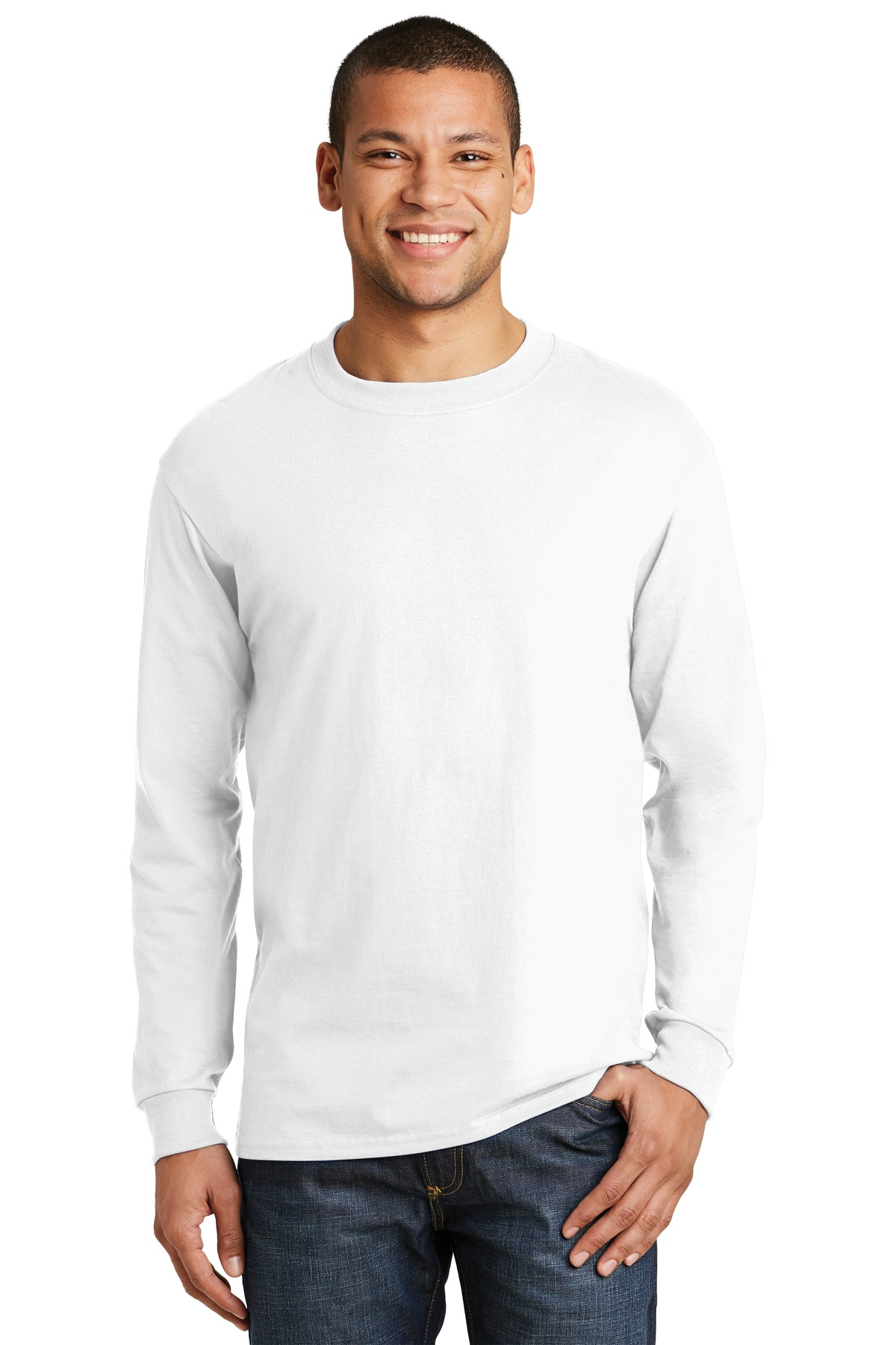 Hanes ®  Beefy-T ®  -  100% Cotton Long Sleeve T-Shirt.  5186 - White