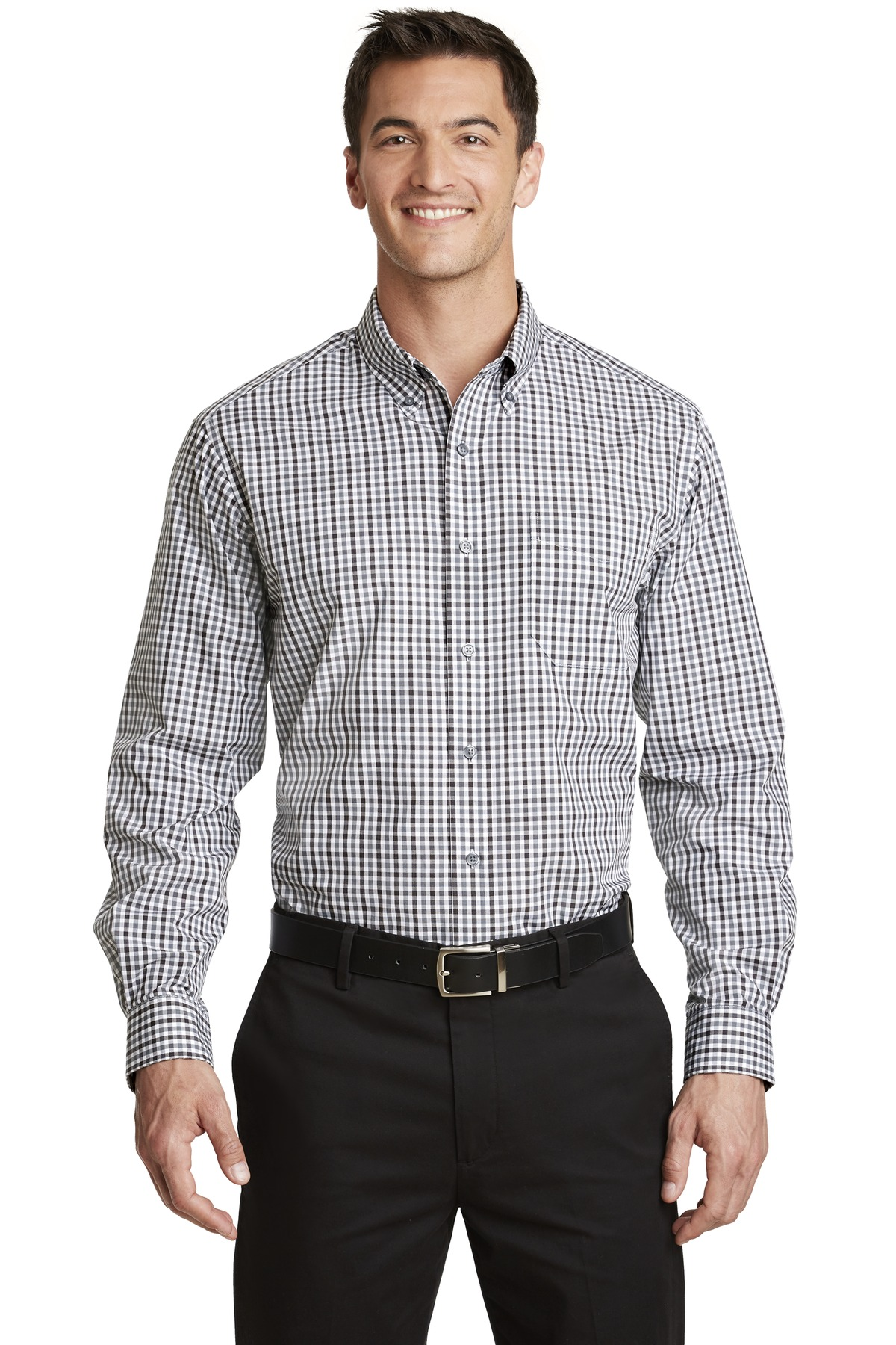 Port Authority ®  Long Sleeve Gingham Easy Care Shirt. S654 - Black/ Charcoal