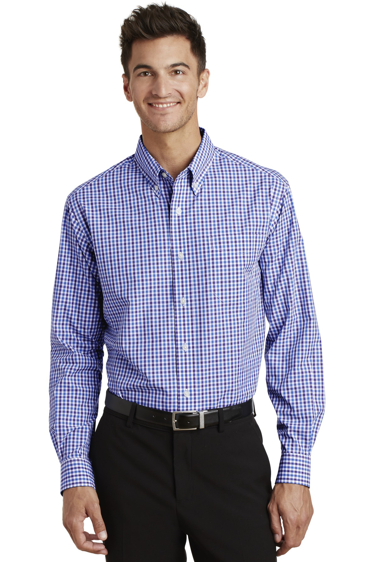 Port Authority ®  Long Sleeve Gingham Easy Care Shirt. S654 - Blue/ Purple