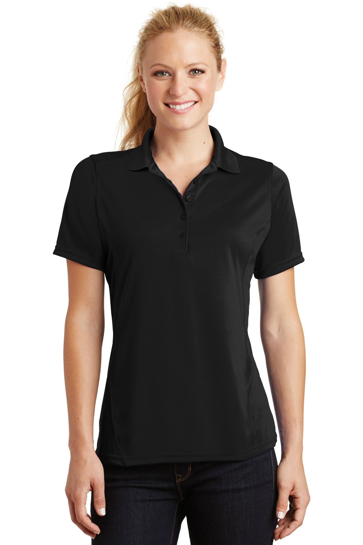 Sport-Tek ®  Ladies Dry Zone ®  Raglan Accent Polo. L475 - Black