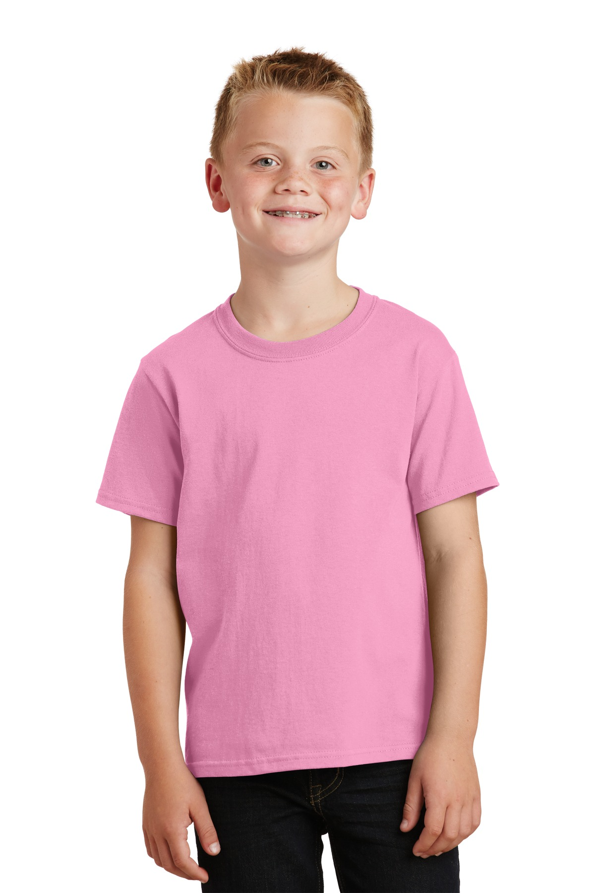 Port & Company ®  - Youth Core Cotton Tee. PC54Y - Candy Pink