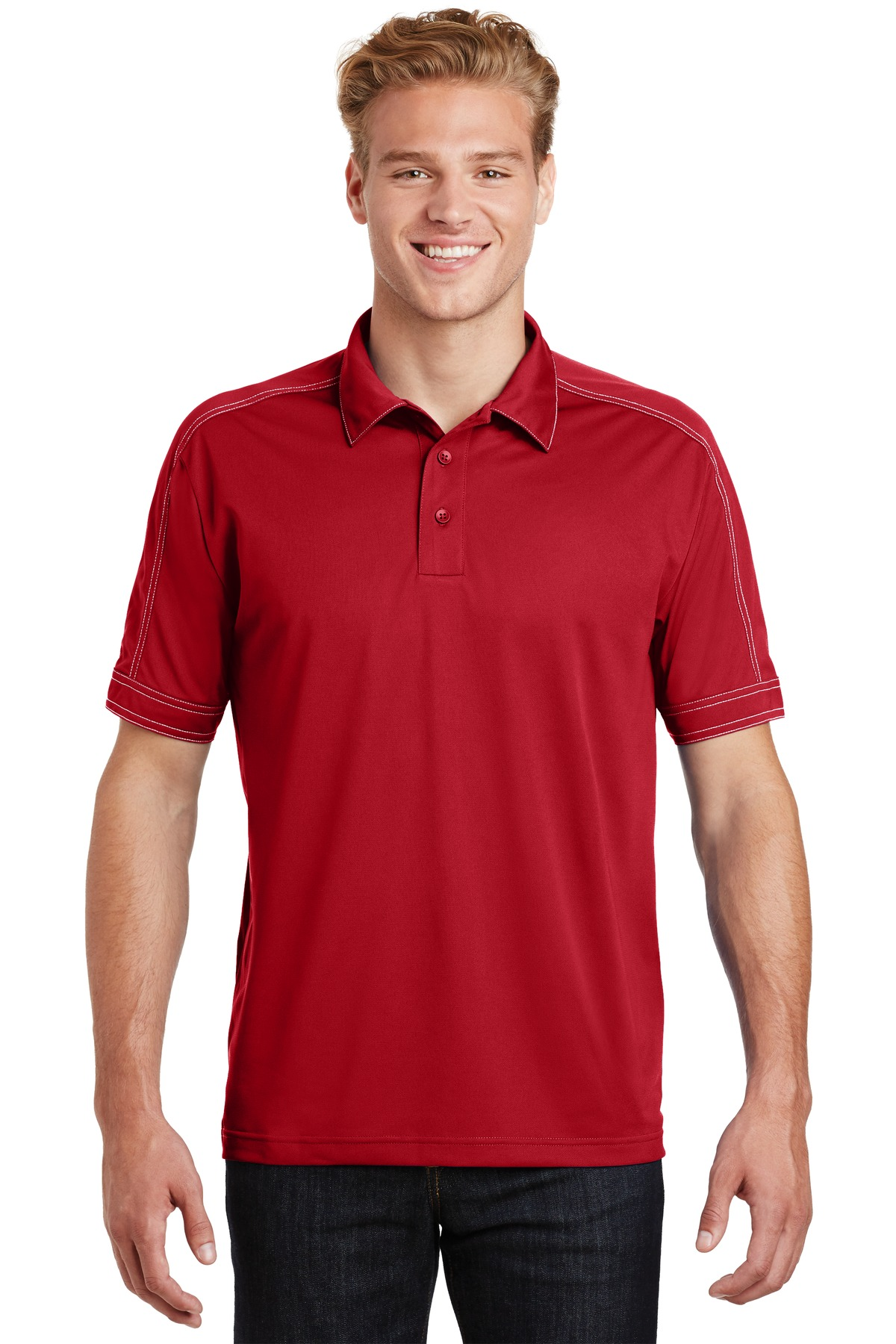 Sport-Tek ®  Contrast Stitch Micropique Sport-Wick ®  Polo. ST659 - True Red