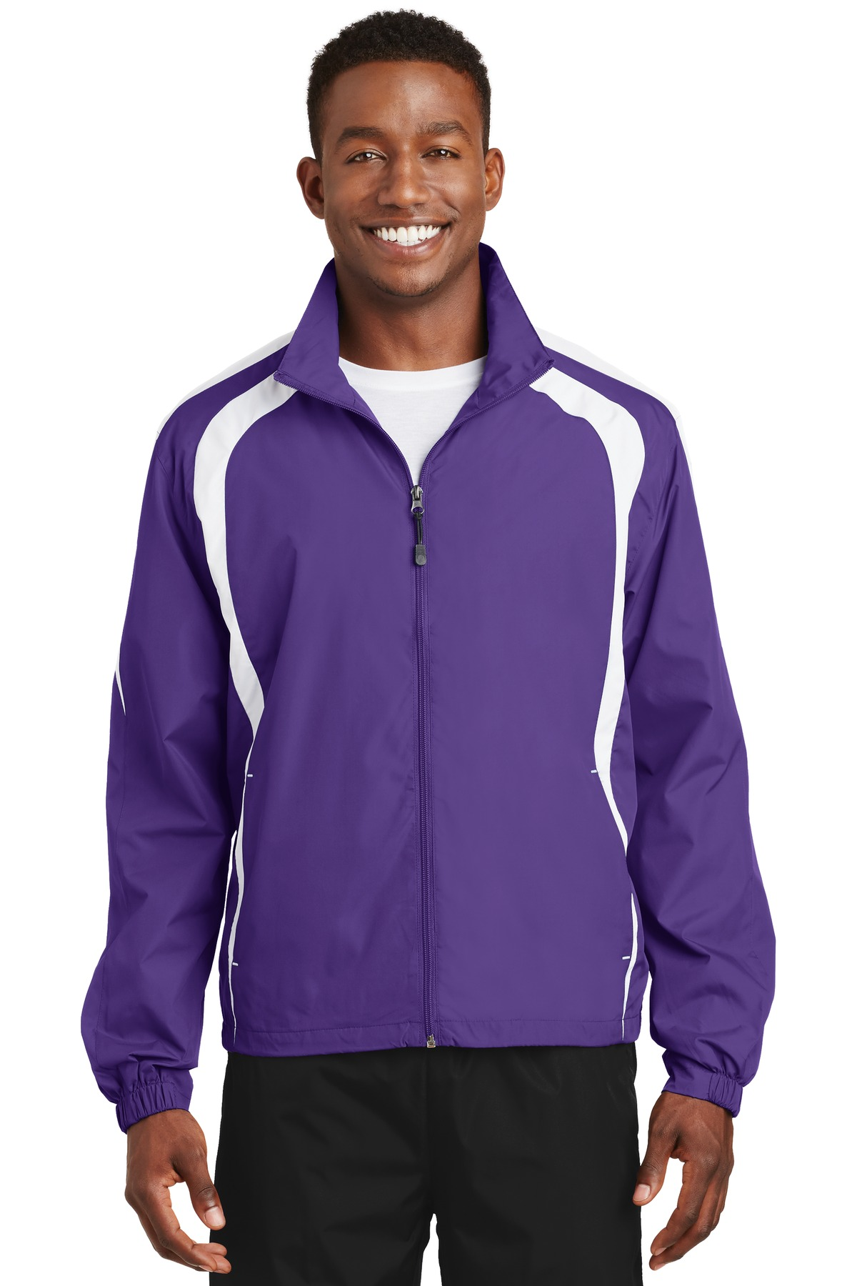 Sport-Tek ®  Colorblock Raglan Jacket. JST60 - Purple/White