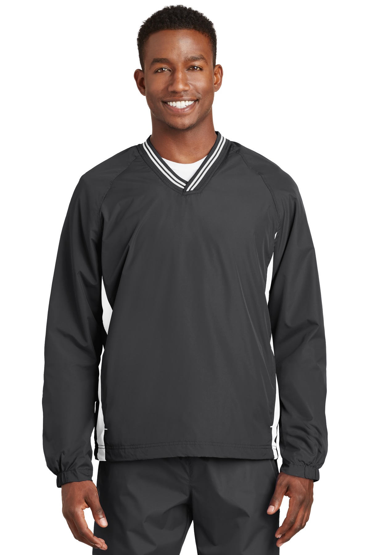 Sport-Tek ®  Tipped V-Neck Raglan Wind Shirt. JST62 - Graphite Grey/ White
