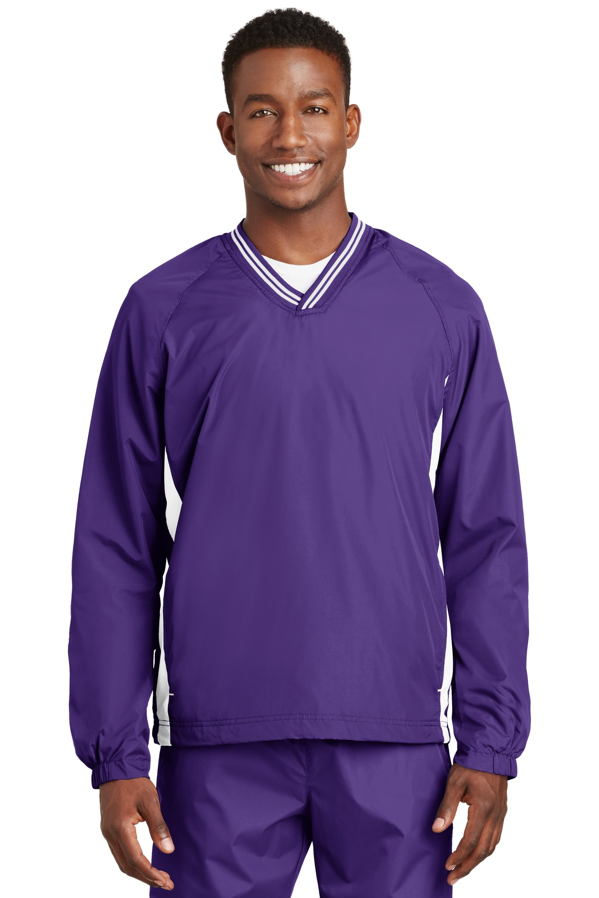 Sport-Tek ®  Tipped V-Neck Raglan Wind Shirt. JST62 - Purple/White