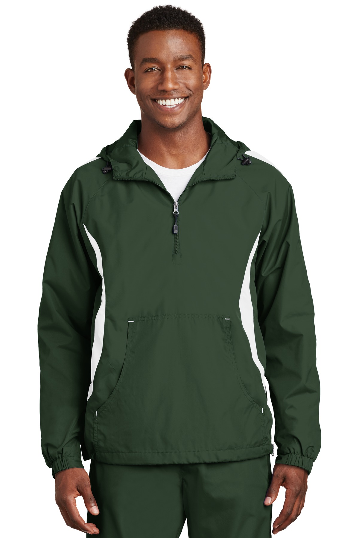 Sport-Tek ®  Colorblock Raglan Anorak. JST63 - Forest Green/White
