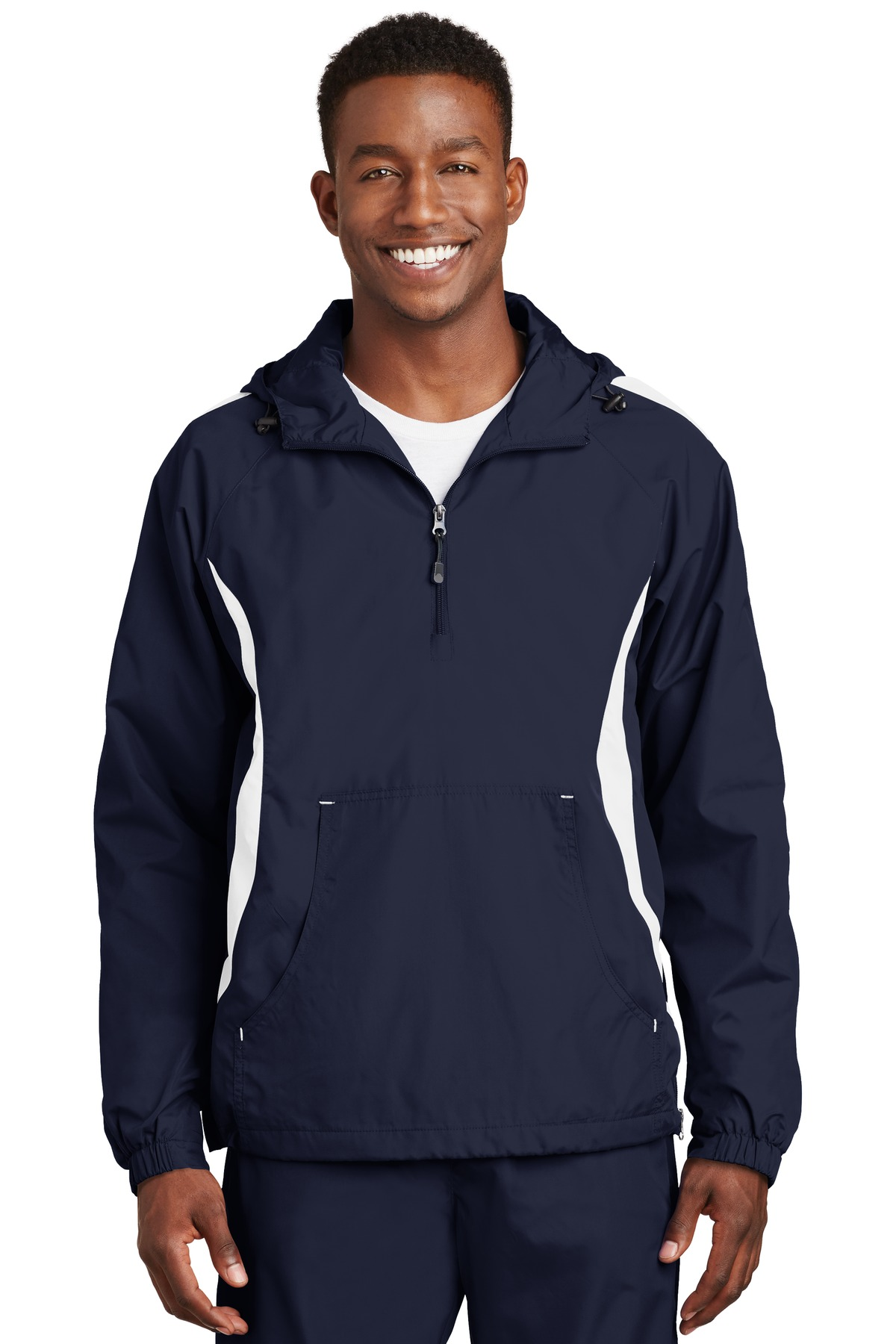 Sport-Tek ®  Colorblock Raglan Anorak. JST63 - True Navy/White