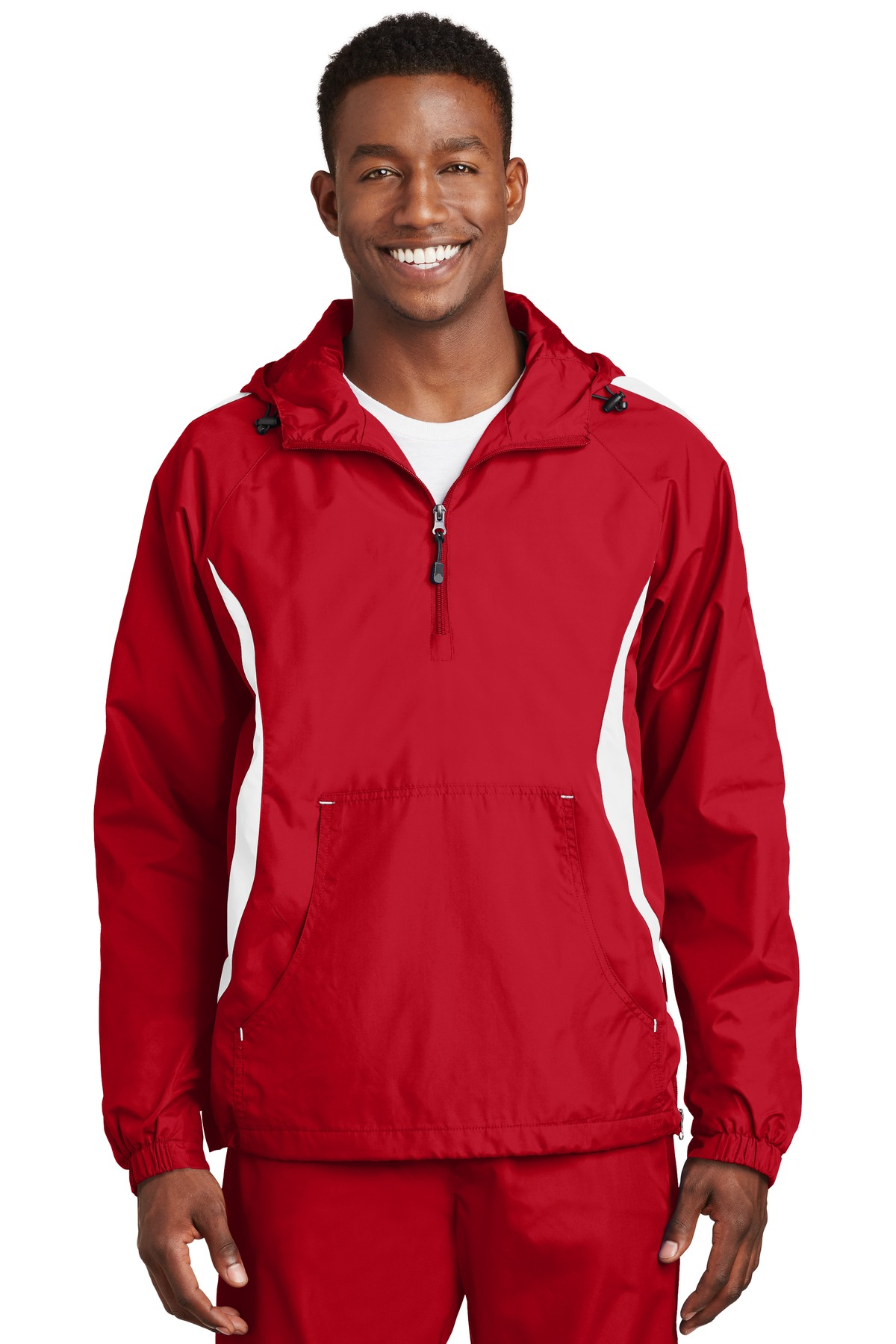 Sport-Tek ®  Colorblock Raglan Anorak. JST63 - True Red/White
