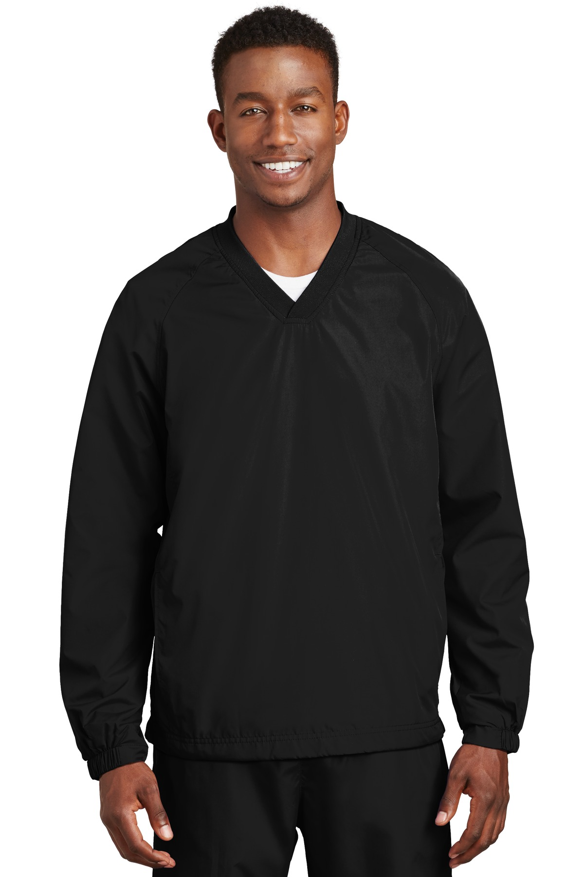 Sport-Tek ®  V-Neck Raglan Wind Shirt. JST72 - Black