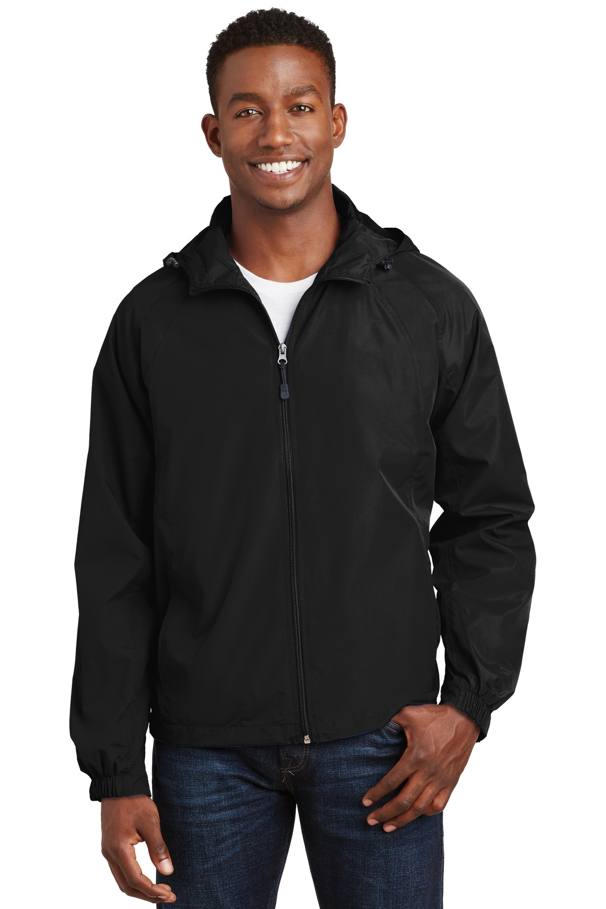 Sport-Tek ®  Hooded Raglan Jacket. JST73 - Black